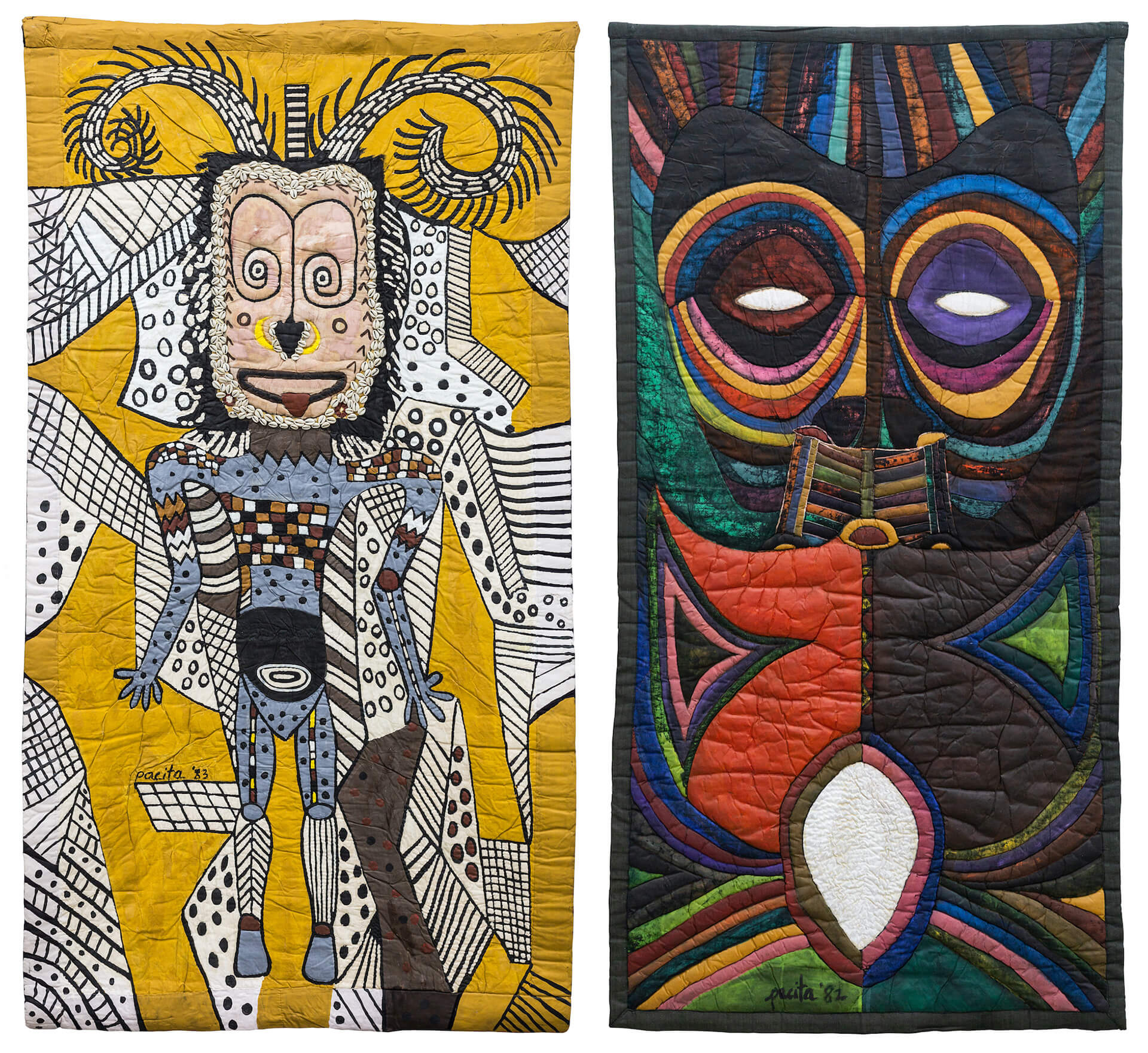 (L): Hagen Man by Pacita Abad and (R): Omdurman by Pacita Abad | Pacita Abad | Art Basel| STIRworld