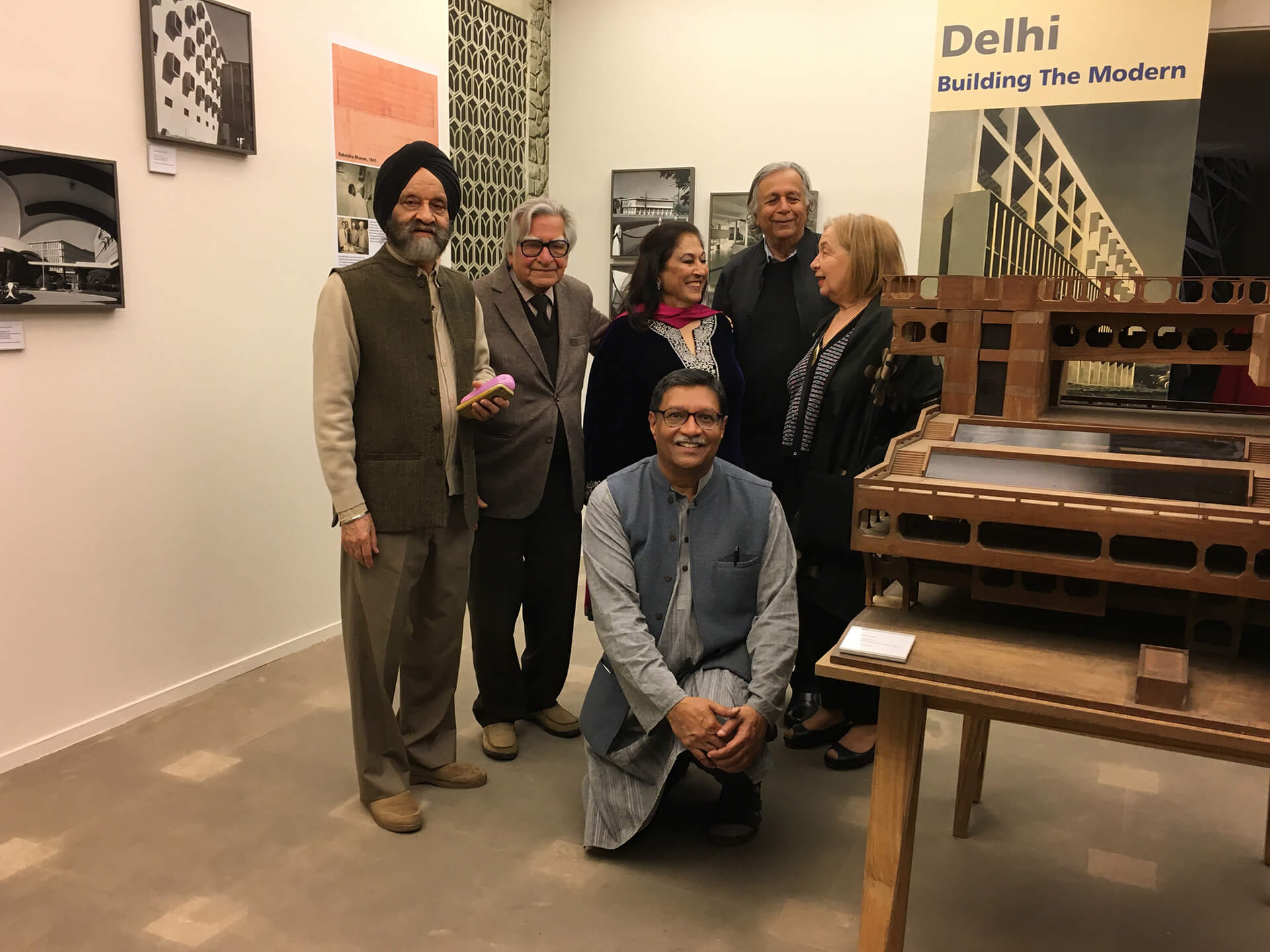 From left to right: Kuldip Singh, Mahendra Raj, Kiran Nadar, Raj Rewal, Helene Rewal; Ram Rahman in front | Kuldip Singh tribute | STIRworld