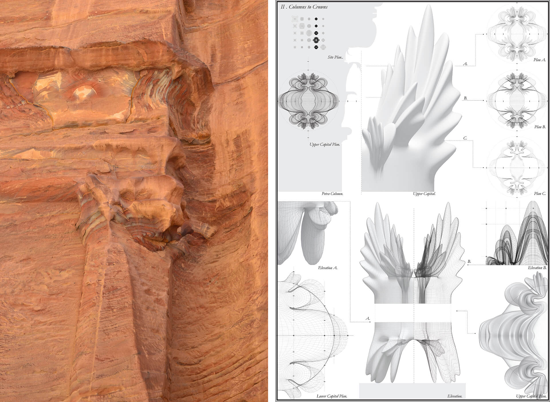 Columns to Crowns by Julia Koerner with Kais Al-Rawi is extrapolated from the capitals from the ruins of Petra  | Julia Koerner with Kais Al-Rawi | STIRworld