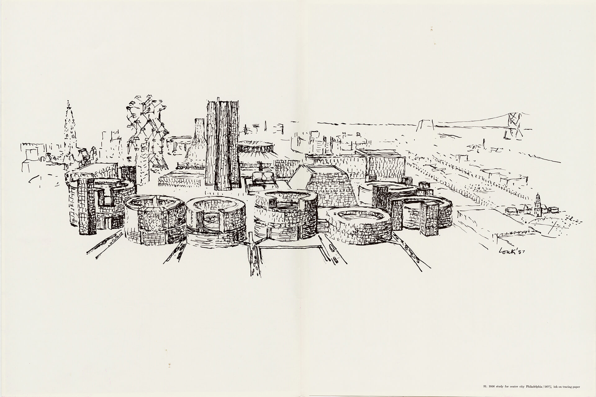 1956 study for center city Philadelphia, ink on tracing paper, detailed sketches | Louis Kahn Tribute, The Notebooks and Drawings of Louis I. Kahn | Louis Kahn, Designers and Books| STIRworld