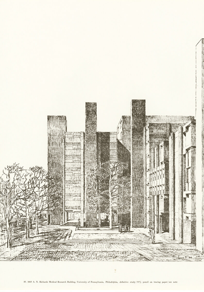 1957 A.N. Richards Medical Research Building, University of Pennsylvania, Philadelphia, definitive study, pencil on tracing paper | Louis Kahn Tribute, The Notebooks and Drawings of Louis I. Kahn | Louis Kahn, Designers and Books| STIRworld