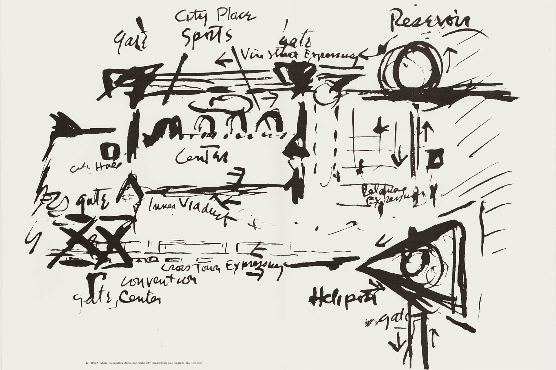 1962 Graham Foundation studies for center city Philadelphia, plan diagram, ink | Louis Kahn Tribute, The Notebooks and Drawings of Louis I. Kahn | Louis Kahn, Designers and Books| STIRworld