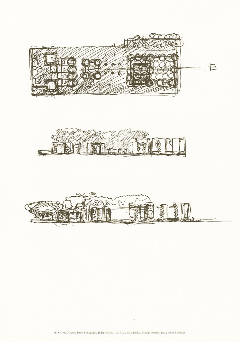 Mikveh Israel Synagogue, Independence Hall Mall, Philadelphia, concept studies, ink in notebook | Louis Kahn Tribute, The Notebooks and Drawings of Louis I. Kahn | Louis Kahn, Designers and Books| STIRworld