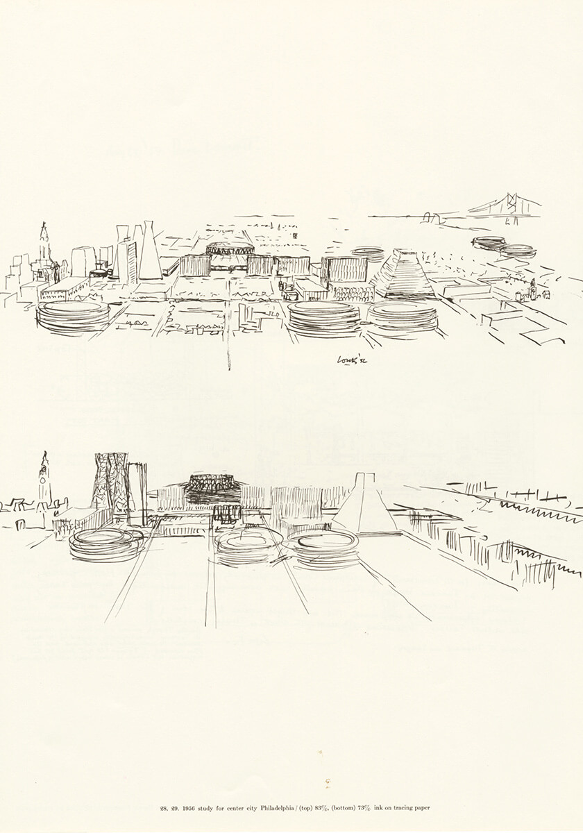 1956 studies for center city Philadelphia, ink on tracing paper | Louis Kahn Tribute, The Notebooks and Drawings of Louis I. Kahn | Louis Kahn, Designers and Books| STIRworld