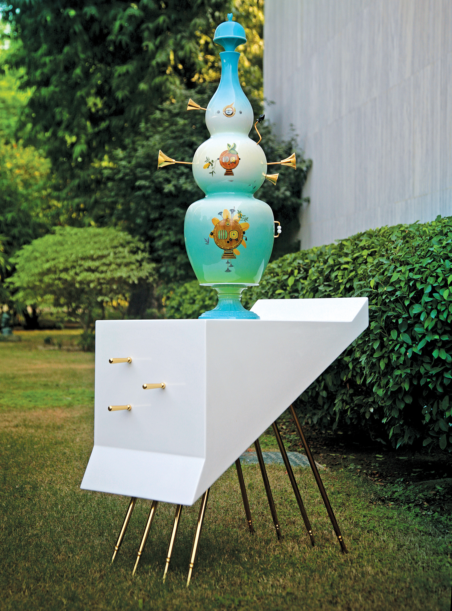 Glaze fired porcelain vases with brass cast components mounted on ornate wooden tables, 2012 (1)| Thukral and Tagra| STIR