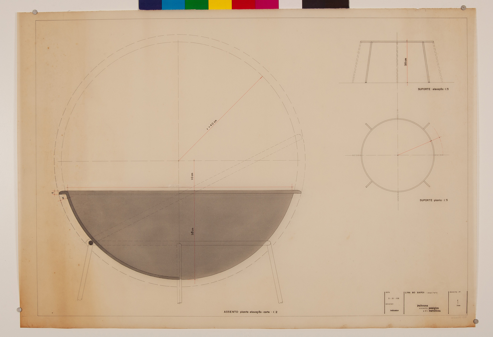 Plans, section and elevation of the Bardi's Bowl| The Special Golden Lion for Lifetime Achievement, in memoriam, Biennale Architettura 2021 | Lina Bo Bardi | STIRworld