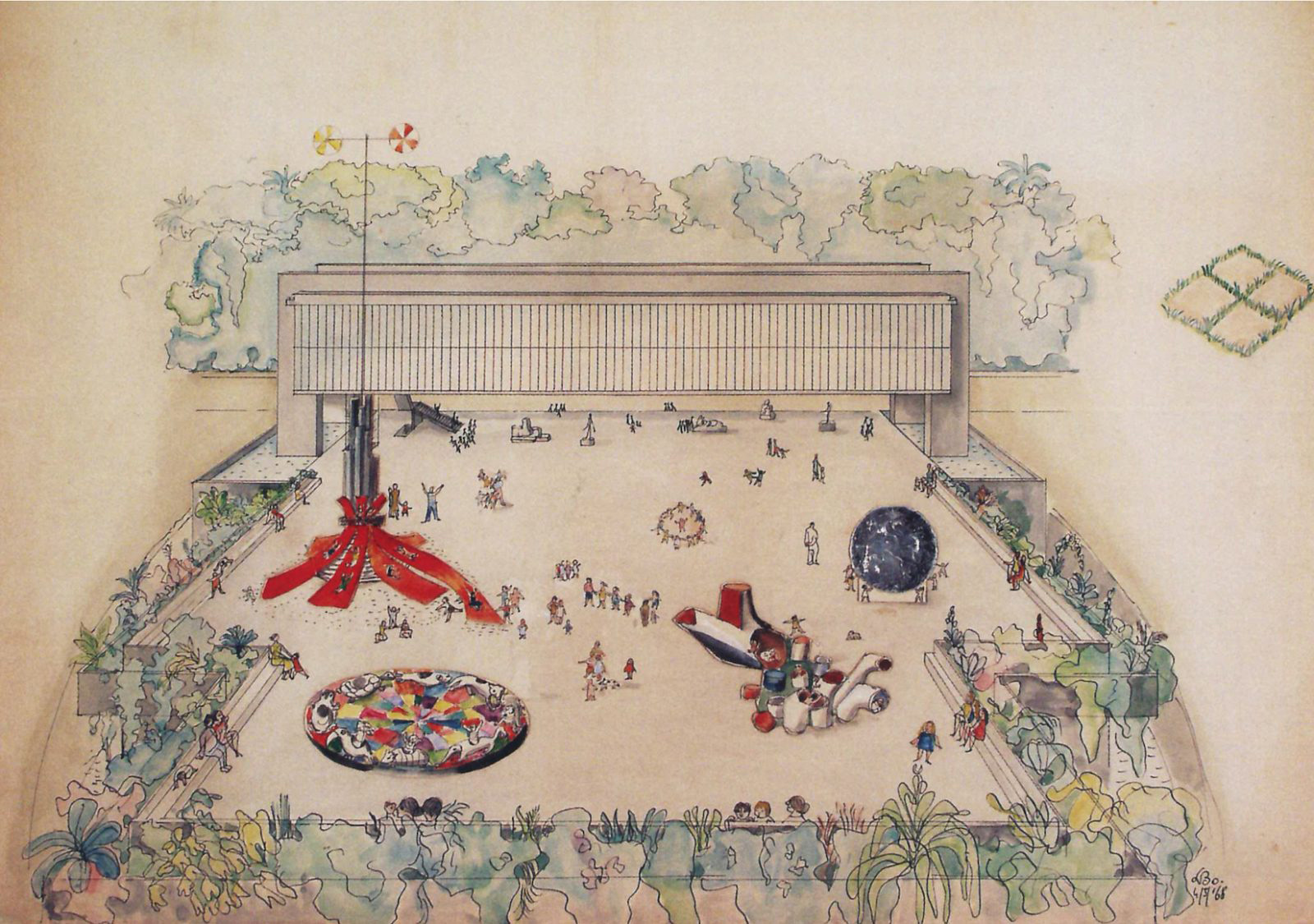 Drawing of ephemeral structures for the MASP belvedere | The Special Golden Lion for Lifetime Achievement, in memoriam, Biennale Architettura 2021 | Lina Bo Bardi | STIRworld