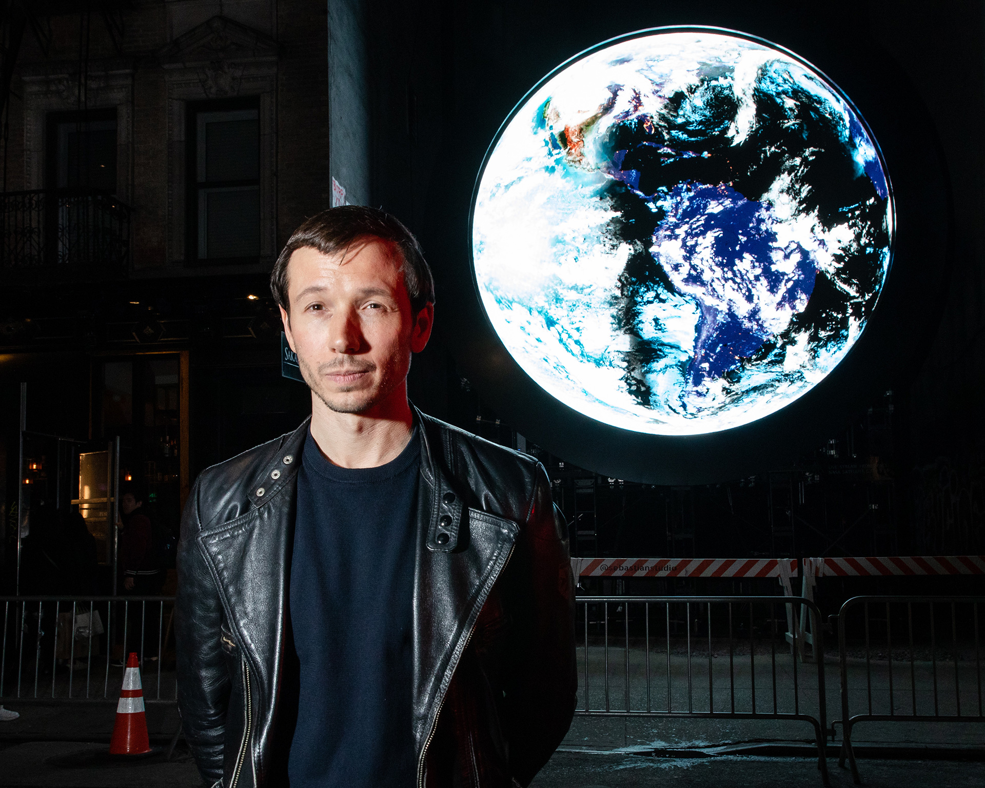 Artist Sebastian Errazuriz in front of the 'blue marble' installation at 159 Ludlow Street | blue marble | Sebastian Errazuriz | STIR