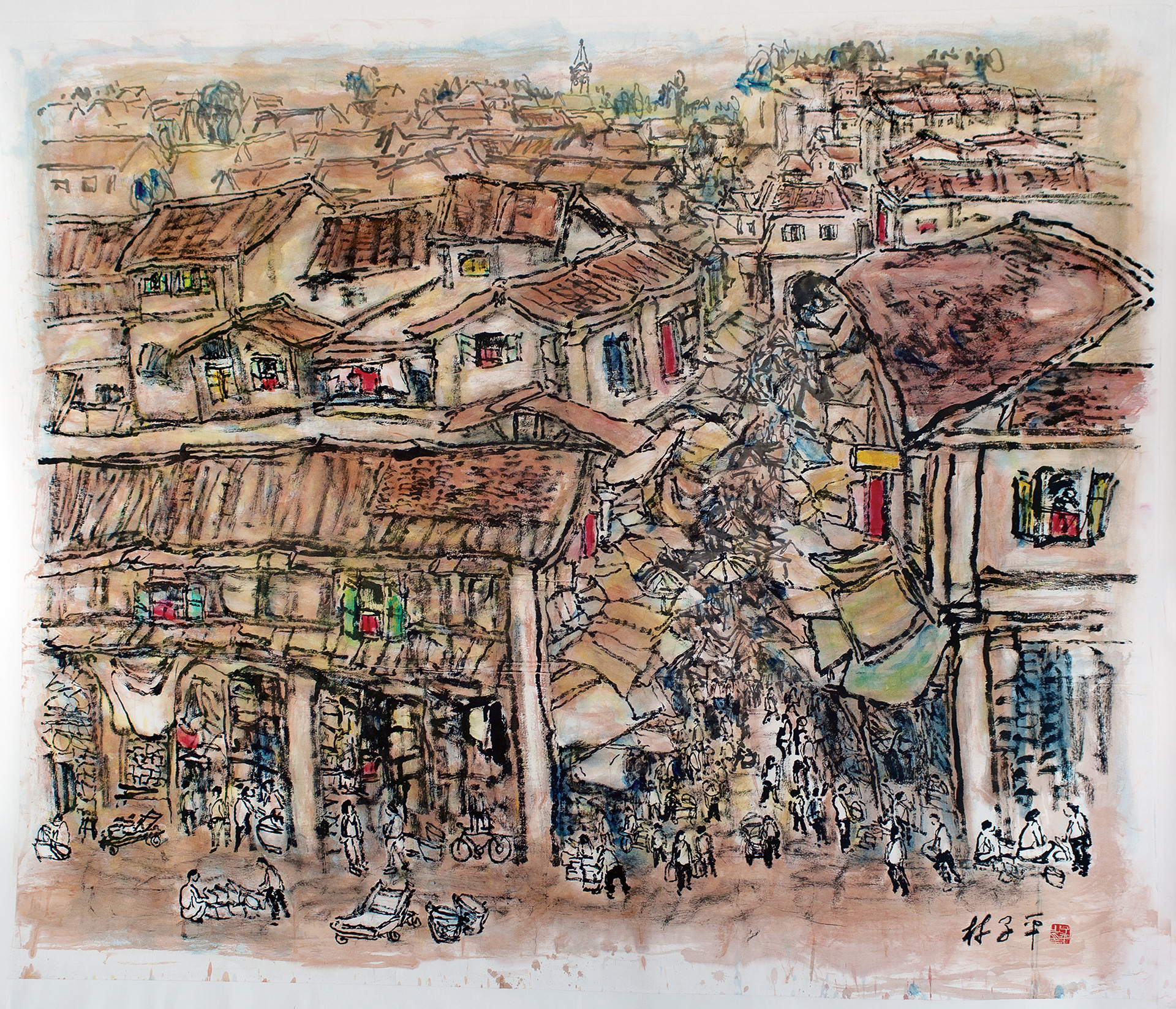 Bustling streets of Chinatown, ink on paper, 200 x 235 cm | Lim Tze Peng | Dr Bhau Daji Lad Museum | STIR