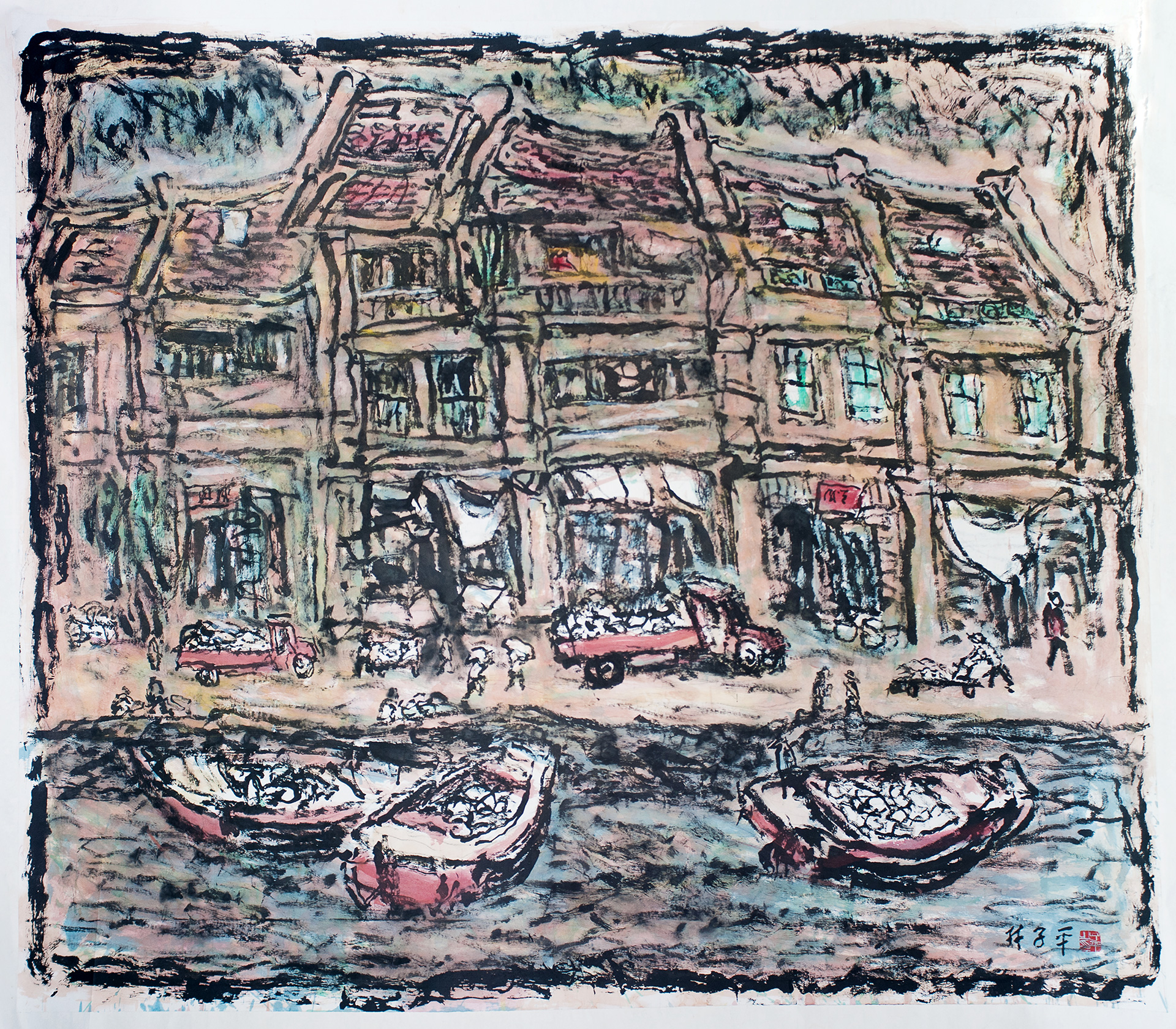 A busy morning at boat Quay, ink on paper, 198 x 229 cm | Lim Tze Peng | Dr Bhau Daji Lad Museum | STIR