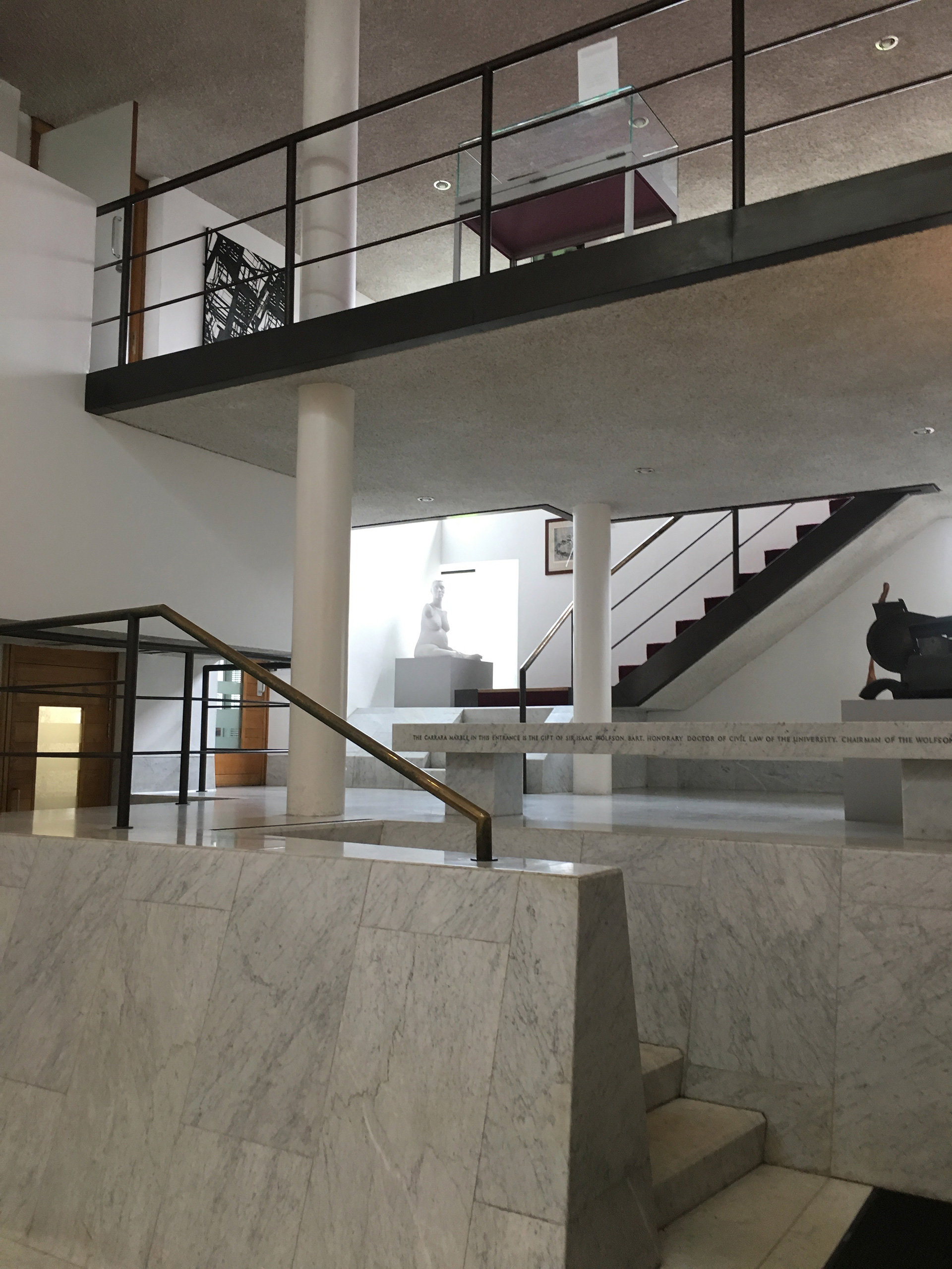 The Marble Staircase in patterned Carrera | Modernity in/as Heritage – The architecture of Wolfson College, Oxford | Amit Khanna | STIR