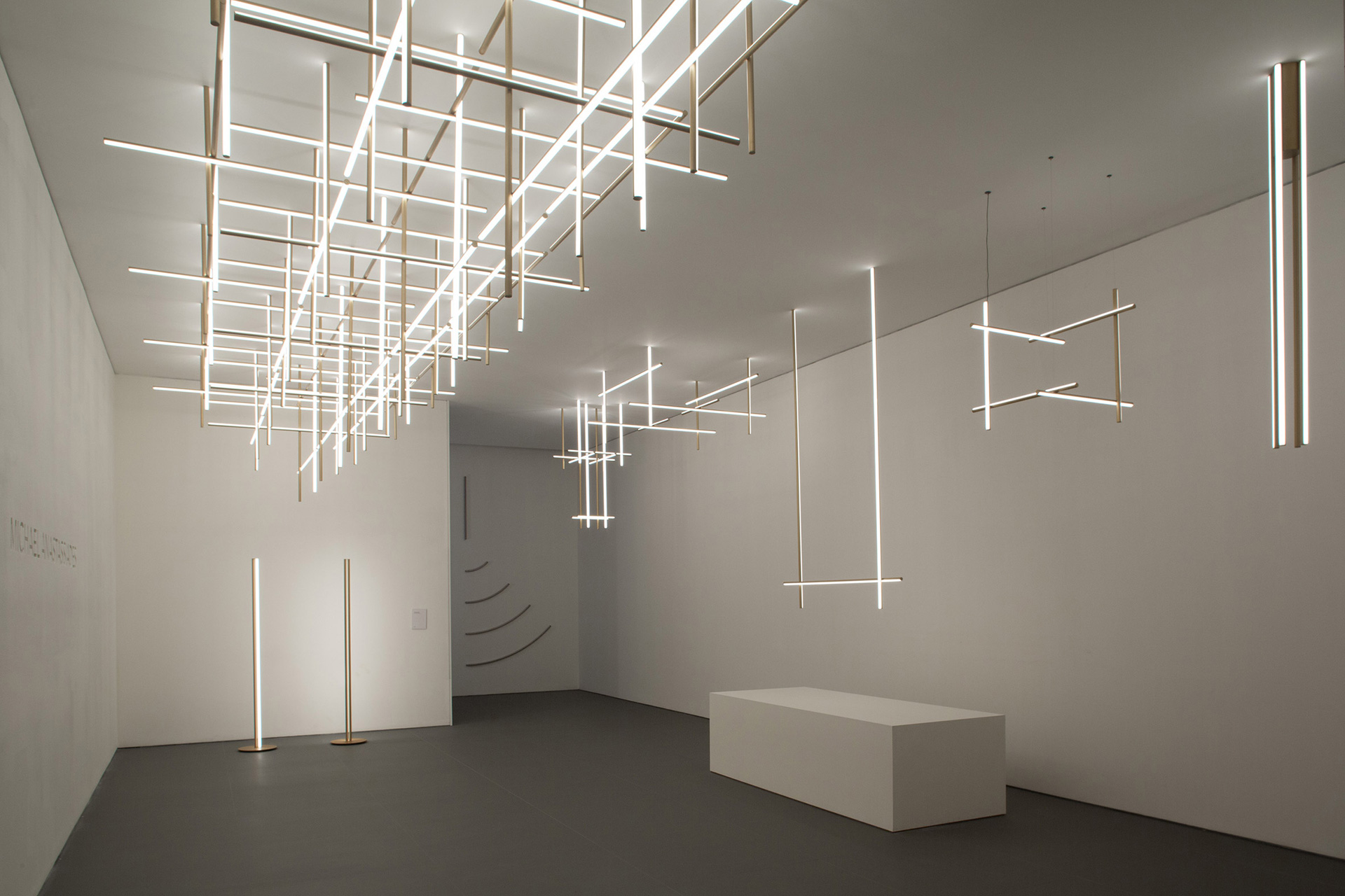 Coordinates – horizontal and vertical strip lights across the ceilings; by Michael Anastassiades | Cross Border Conversations | Michael Anastassiades, Seema Puri Mullan | STIR