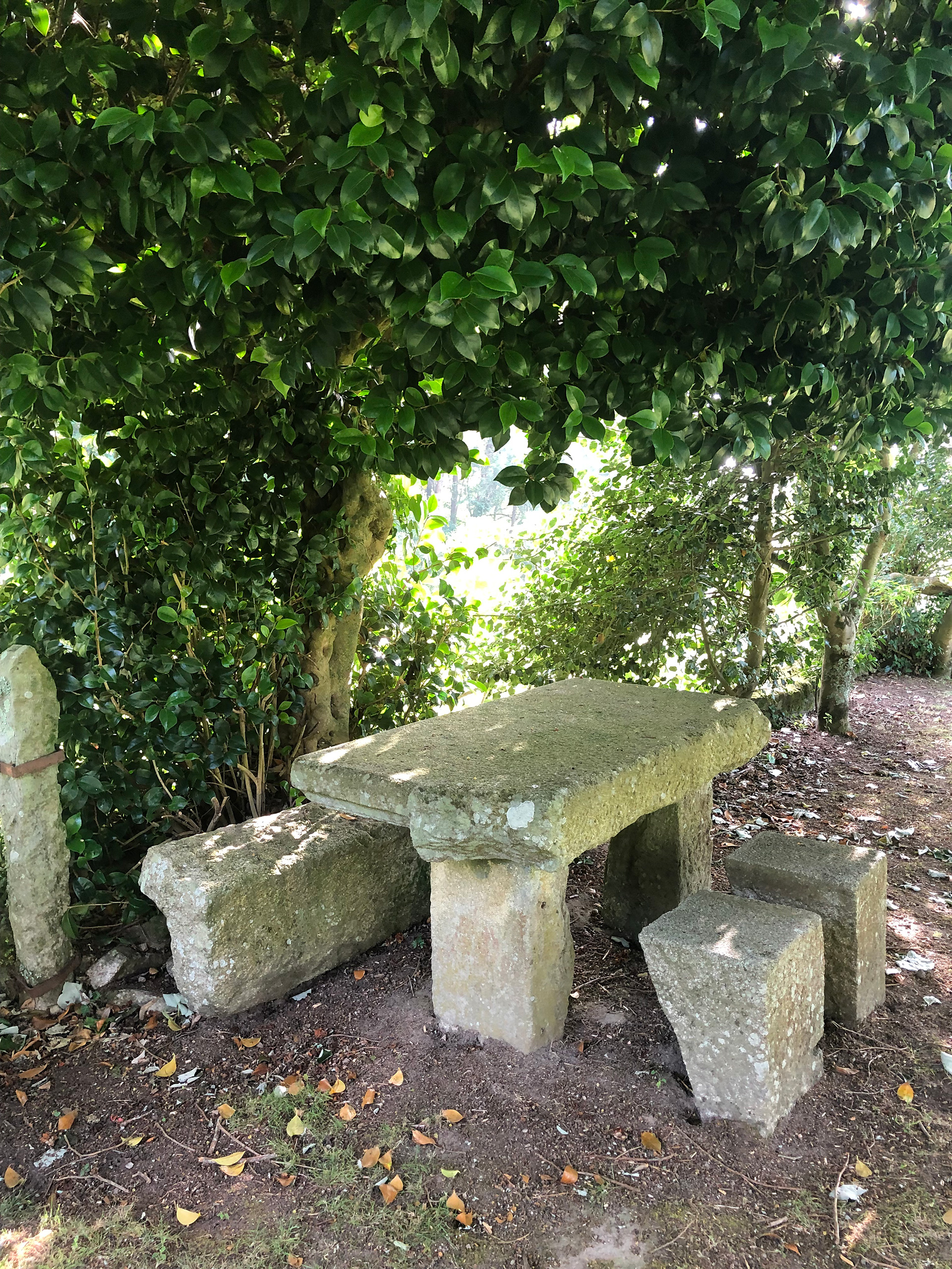 Several stone benches and tables, like this one, are scattered across the property in strategic places, where guests can appreciate a quiet moment | Presenting the Past in Portugal | STIRworld