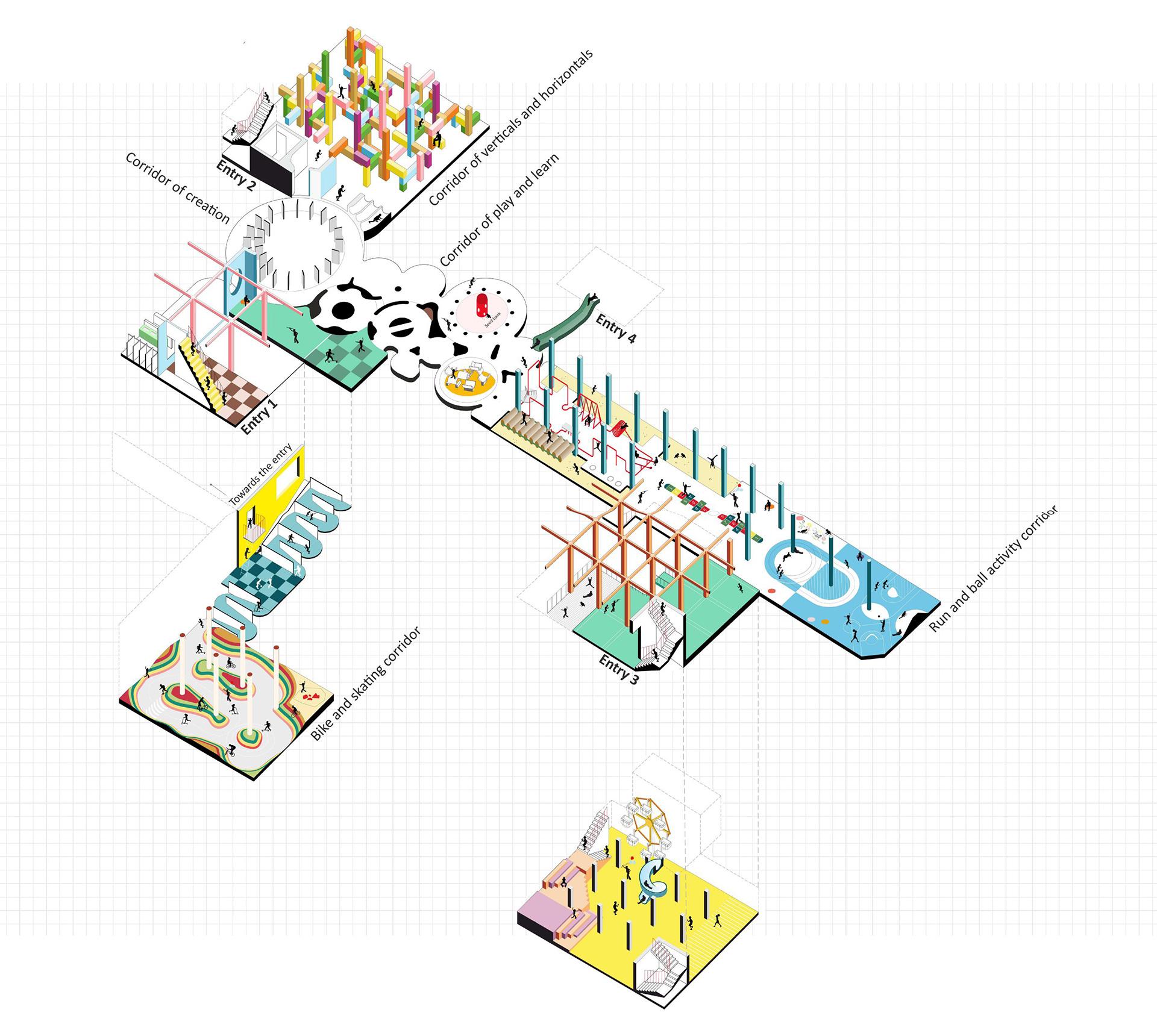 Exploded isometric view of different play areas | Children Uprooted | Tanay Bothara | STIRworld