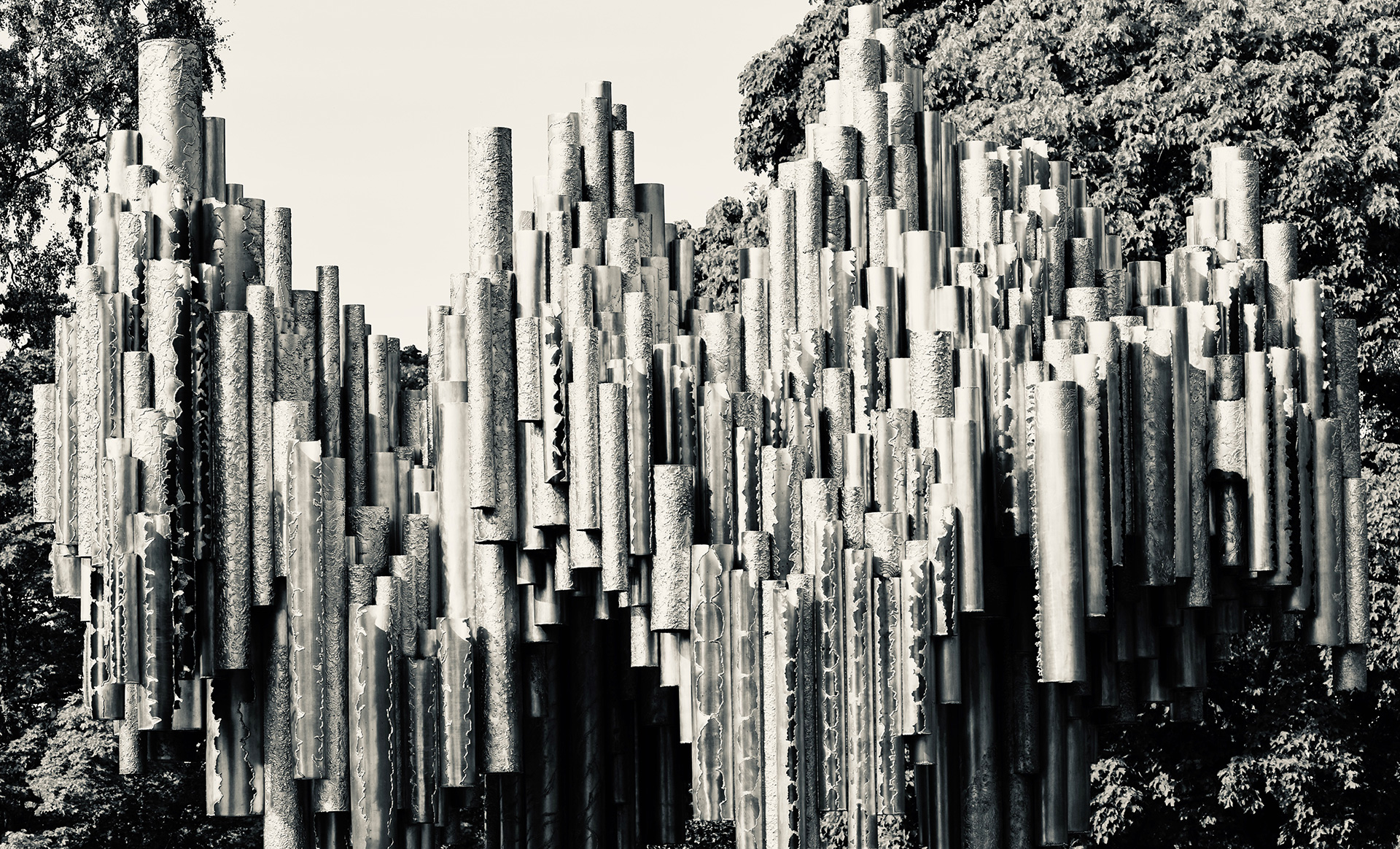 Sibelius Monument is a cluster of over 600 steel ducts crafted to resemble a sound wave made of organ pipes| Helsinki | Finland| STIRworld