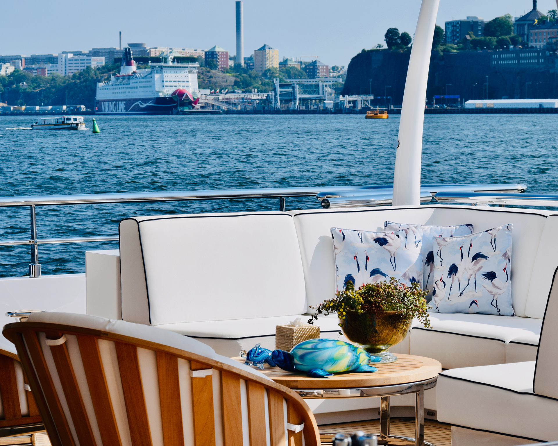 An inviting setting on the upper deck of a well-appointed yacht | Helsinki | Finland| STIRworld