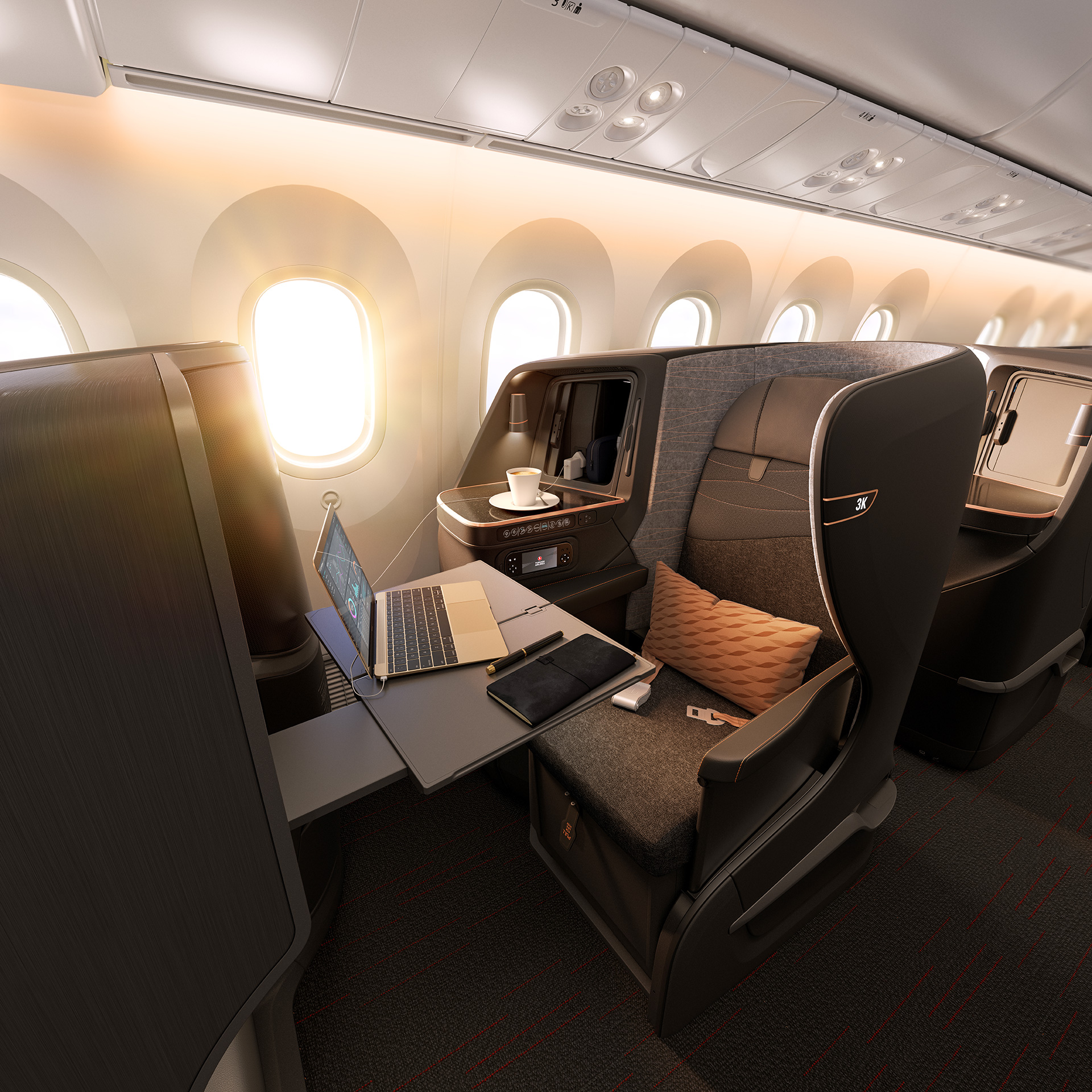 Interior of a cabin at Turkish Airlines | Paul Priestman | PriestmanGoode | STIRworld
