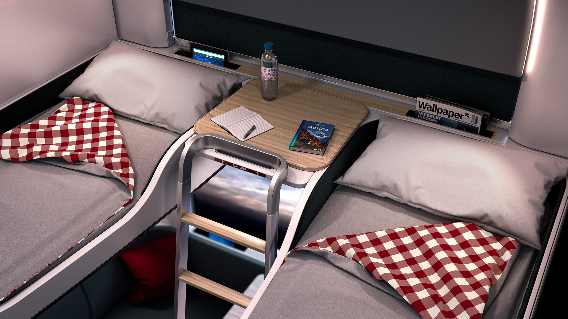 Small tables between beds provide space for drinks and reading materials, designed by PriestmanGoode and ÖBB Austrian Federal Railways |