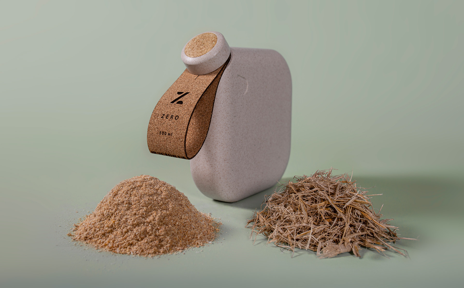 The water bottle has been made from cork and a commercially compostable bioplastic material | Paul Priestman | PriestmanGoode | STIRworld