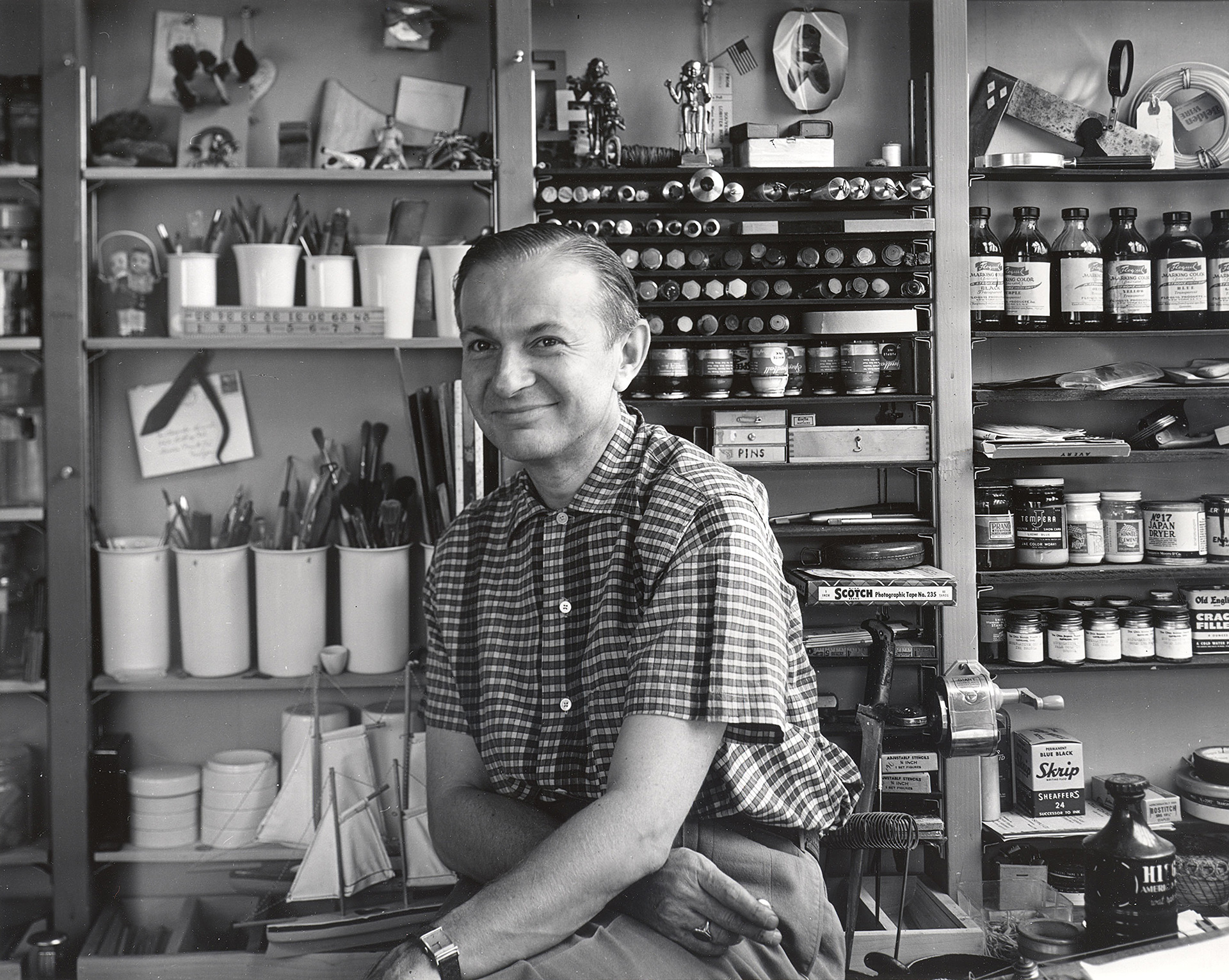 Alexander Girard, in his studio in the early 1950s | Alexander Girard: A Designer's Universe | Alexander Girard | STIRworld