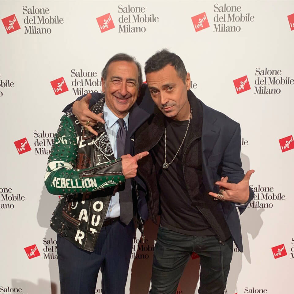Fabio Novembre with the Mayor of Milano, Beppe Sala, during the official opening ceremony of the Salone Del Mobile 2019| Moments of Affection: Milanese Alliances (M.A.M.A.) | STIRworld