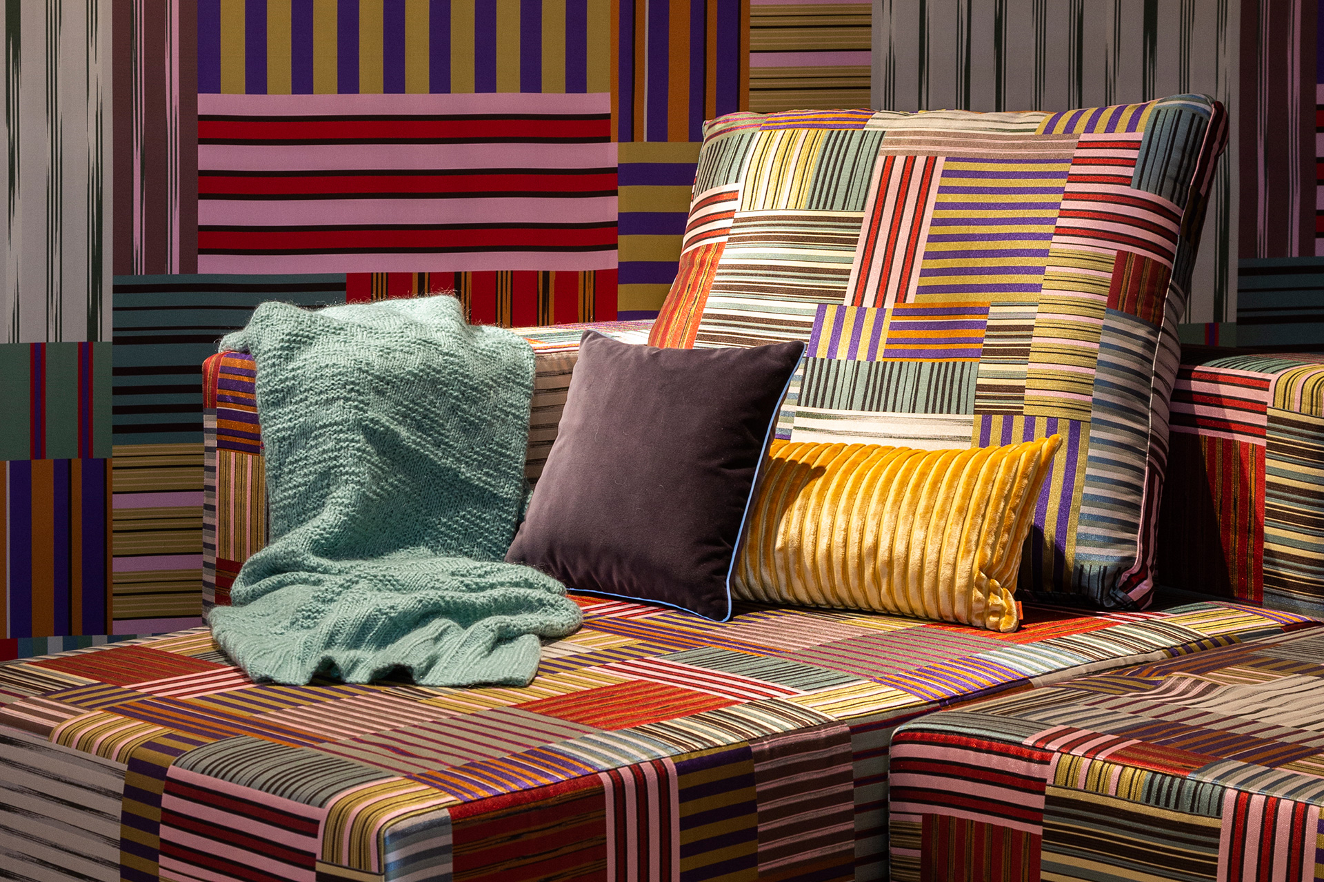 Sofas and cushions from the theme Stripes Mosaic, Collection 2019| Cross Border Conversations| Rosita Missoni, Kunaal Seolekar| STIR