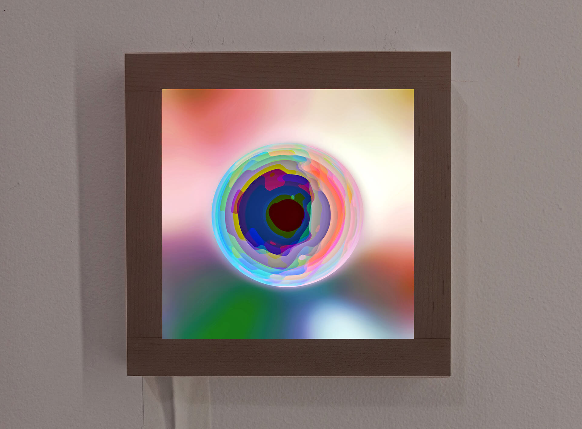 'Electron' (2018) made with Archival Ink on Archival Epson Translucent on a handmade maple lightbox frame | Light Minded | Cate Woodruff | STIRworld