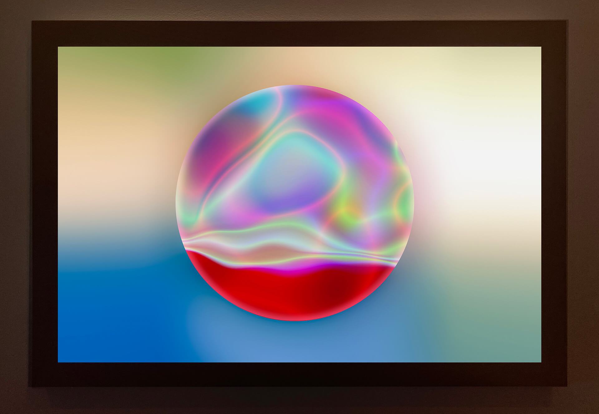 'Tachyon 1' (2019) Archival Ink on Archival Epson Translucent on a handmade maple lightbox with hand rubbed wax finish | Light Minded | Cate Woodruff | STIRworld