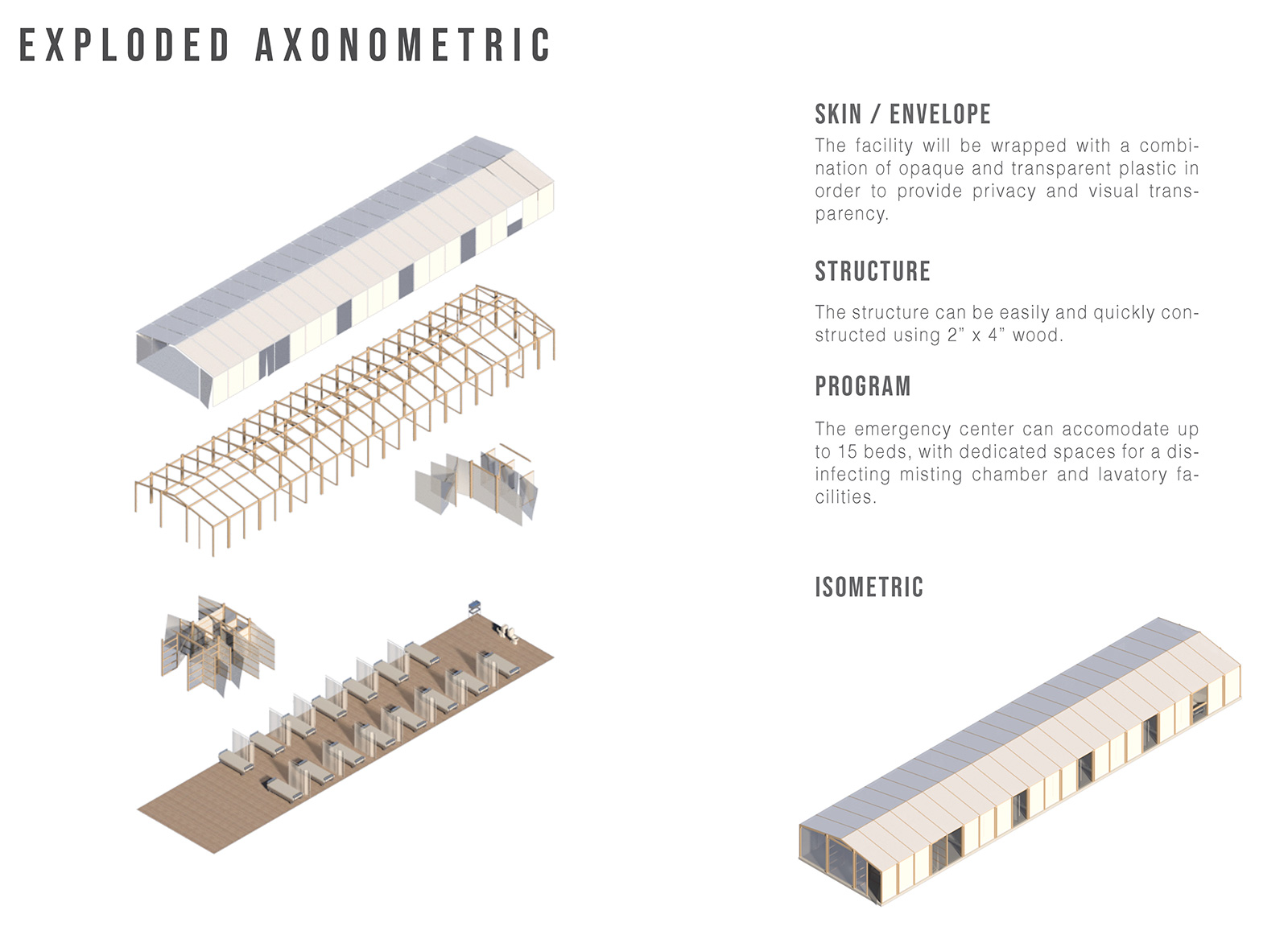 The facility is being made of basic materials such as wood pallets, wood frames, insulation foam, and polyethylene sheets | Emergency Quarantine Facility | WTA Architecture + Design Studio | STIRworld