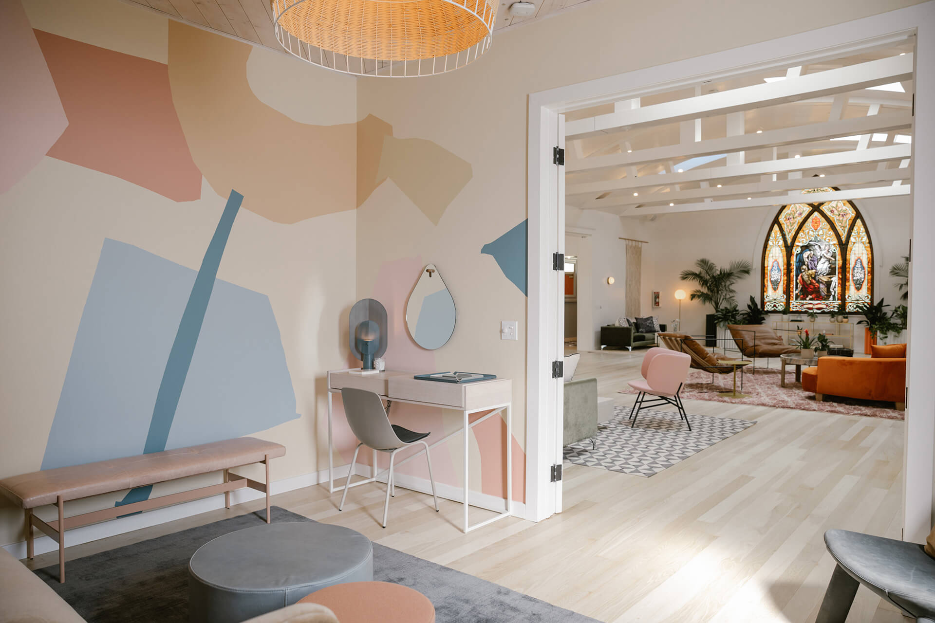 The eclectic mix of furniture and rugs at The Ruby Street | The Ruby Street in LA is a coworking space by Working Holiday Studio and Francesca De La Fuente | STIRworld