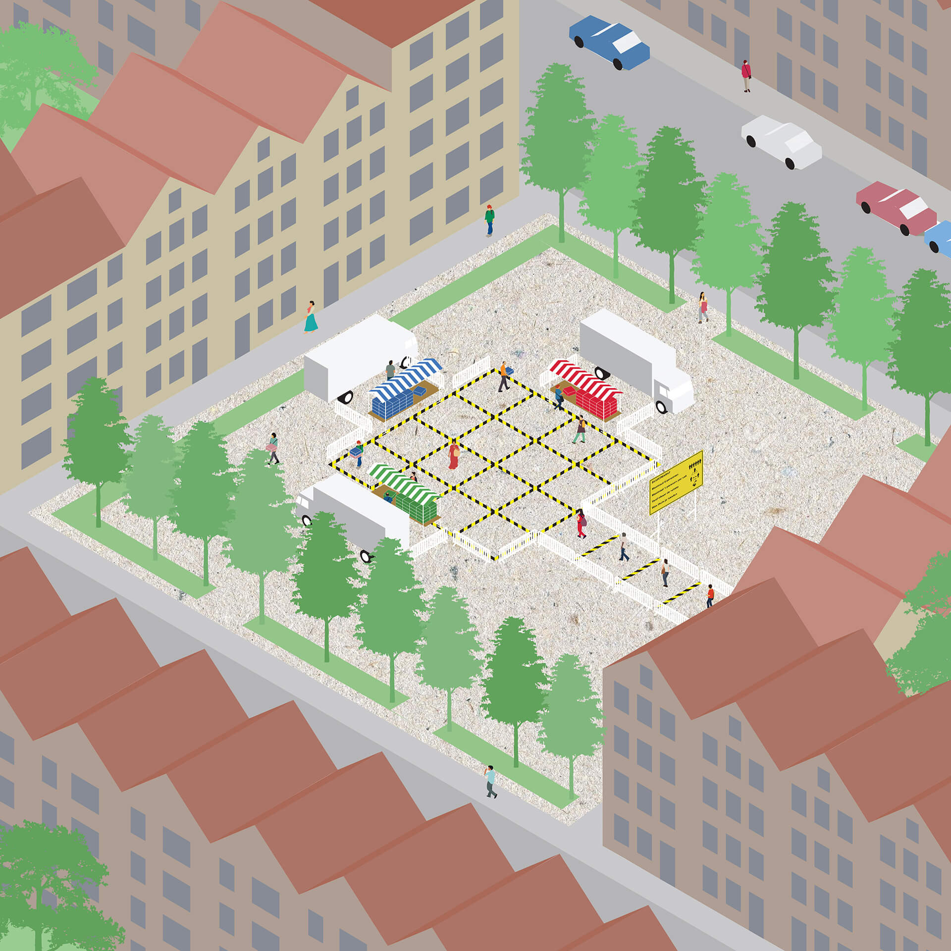 The versatile micro-market design can be replicated in sports fields, neighbourhood squares and school yards alike | Hyperlocal micro markets in shutdown realities | Shift Architecture Urbanism | STIRworld