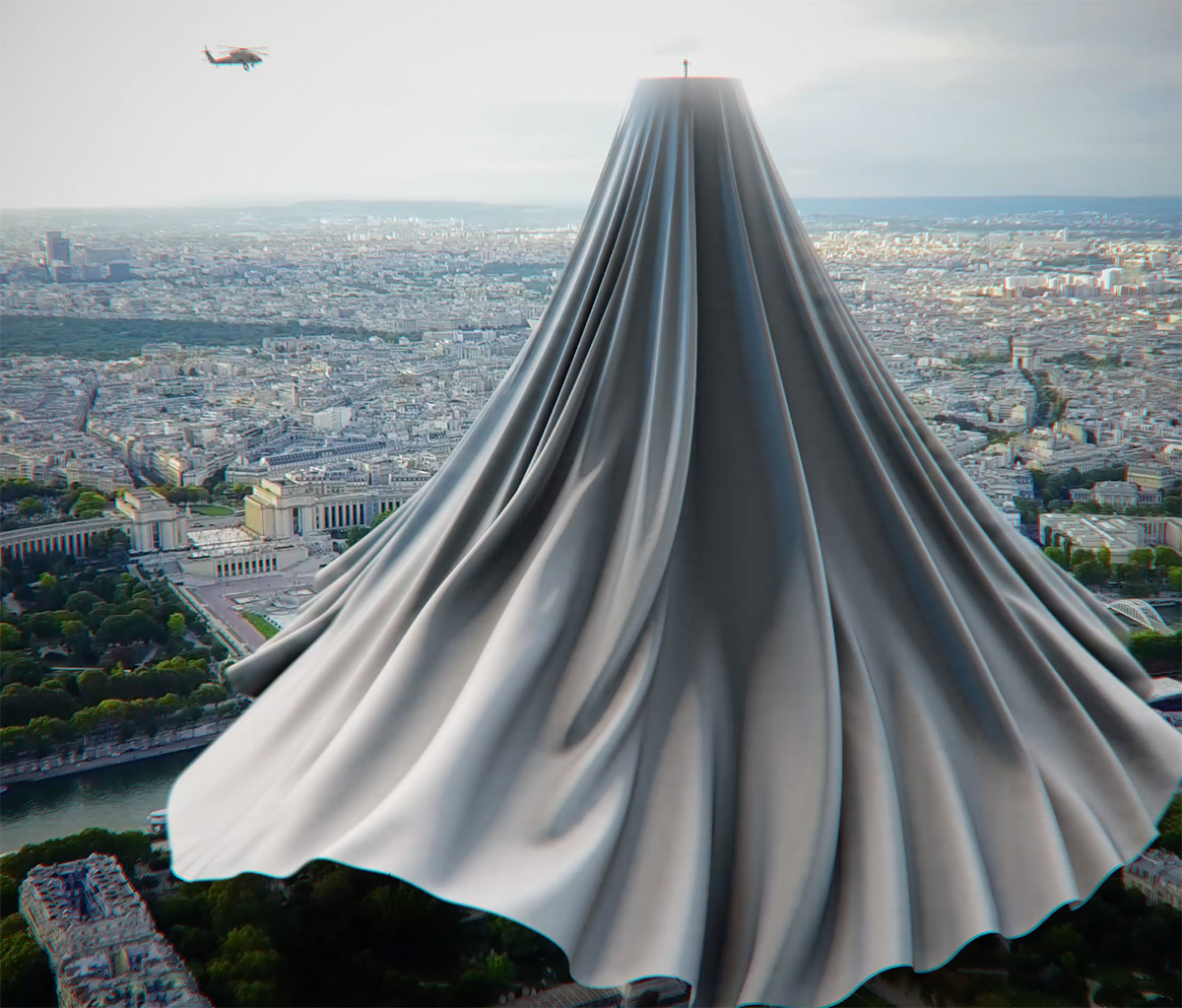 Two helicopters covering the Eiffel Tower with a curtain in the artist's artwork | VFX installation on COVID-19 | Hamid Ebrahimnia | STIRworld