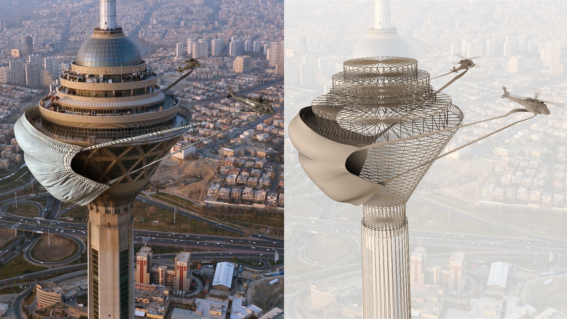Final computer graphics versus wireframe render of the Milad Tower with a face mask | VFX installation on COVID-19 | Hamid Ebrahimnia and Hadi Behrouz | STIRworld
