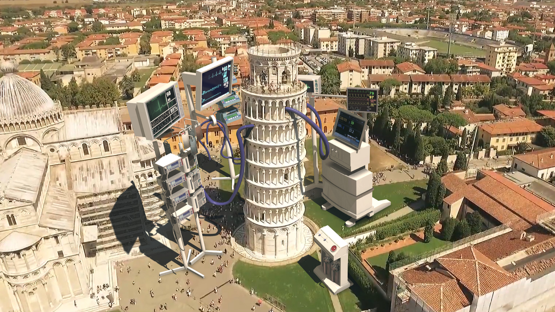 The Leaning Tower of Pisa visual artwork representing the critical state of Italy | VFX installation on COVID-19 | Hamid Ebrahimnia and Studio 3City | STIRworld