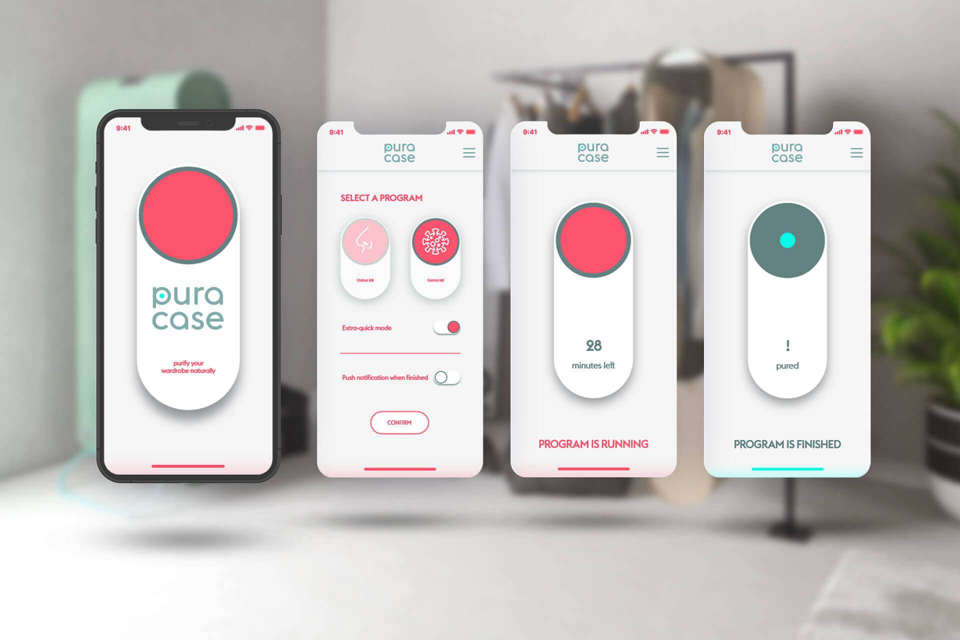 The sanitising process can be remotely started and controlled via the Pura-Case mobile app | Pura-Case by Carlo Ratti Associati | STIRworld
