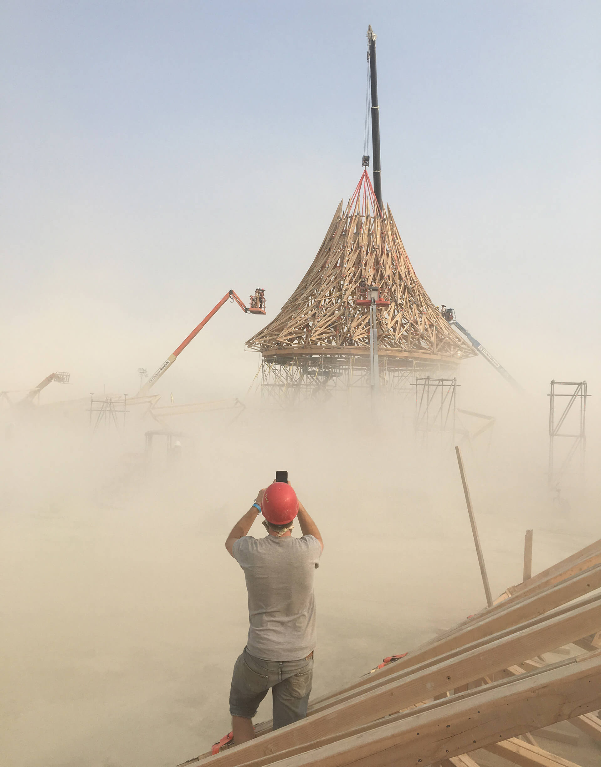 A section of Galaxia rising in the air at the Black Rock City | Catharsis | Burning Man | STIRworld