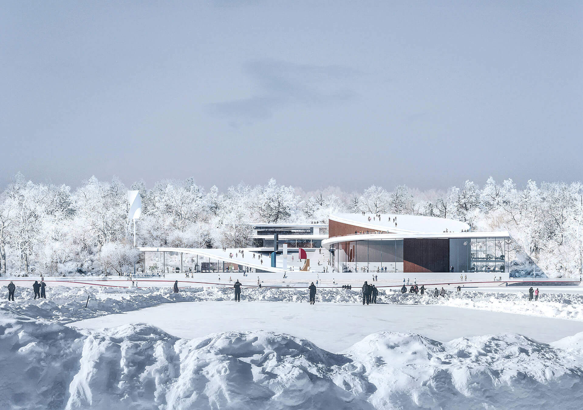 A visualisation of the campus during winters | New Senezh Management Lab | CHYBIK+KRISTOF | STIRworld