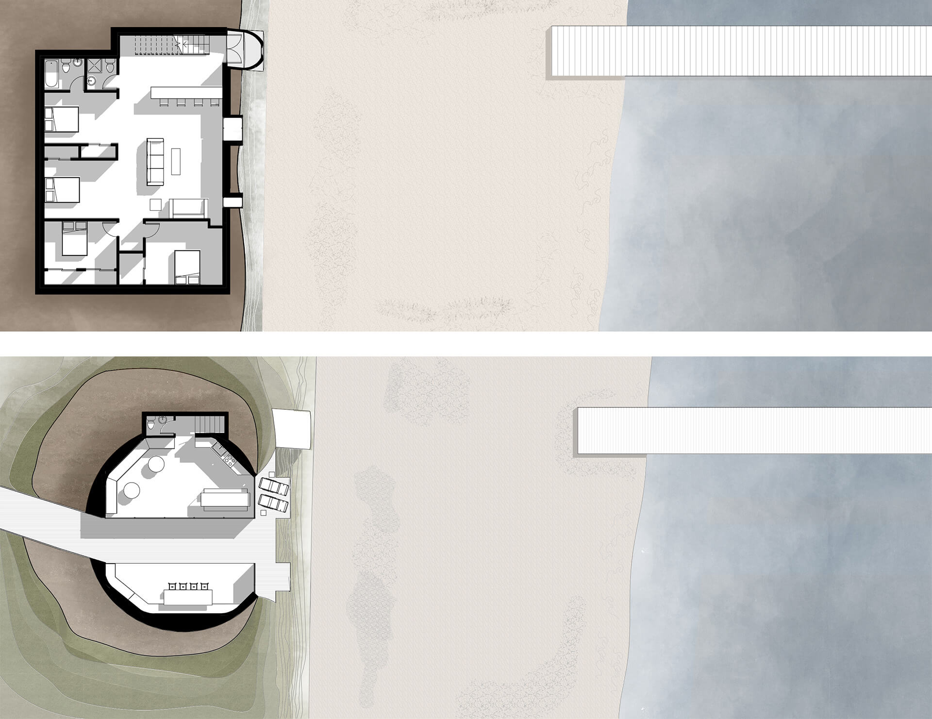 Lower Level Plan (top) and Upper Level Plan (bottom)| Dune House by Studio Vural | STIRworld