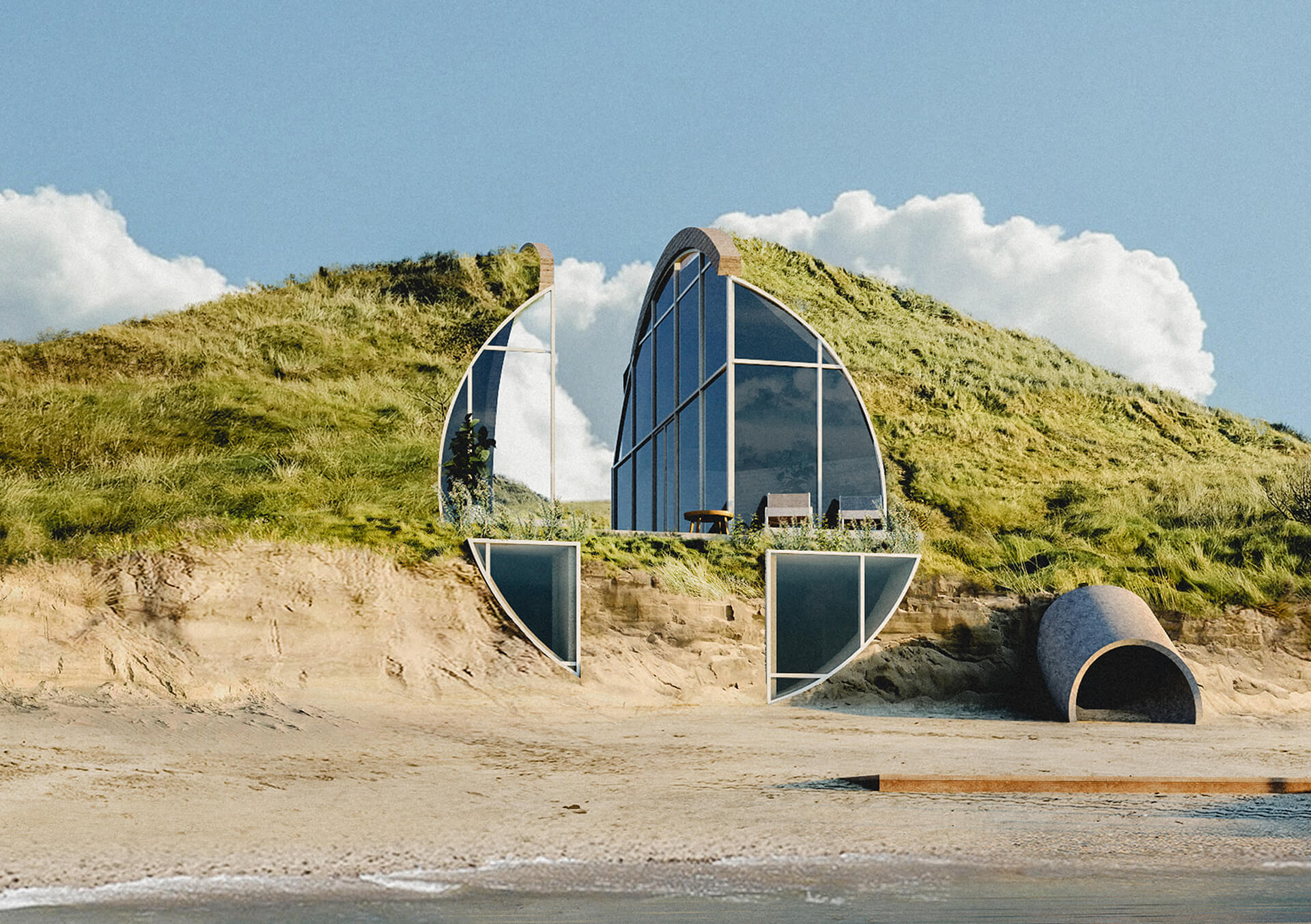 The conceptualised 'off-the-grid' Dune House will be covered in landscaped blanket | Dune House by Studio Vural | STIRworld