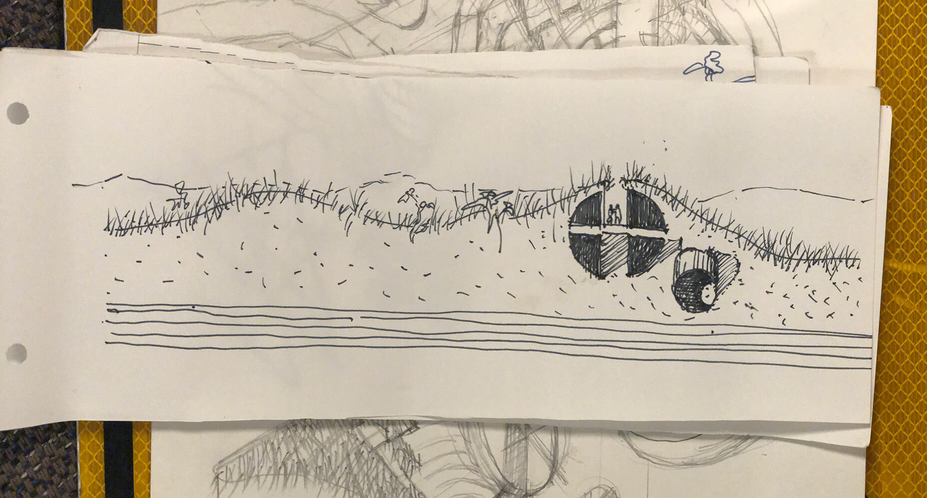Initial sketch of the Dune House sees it embedded in the earth | Dune House by Studio Vural | Designer/Artist/Architect | STIRworld
