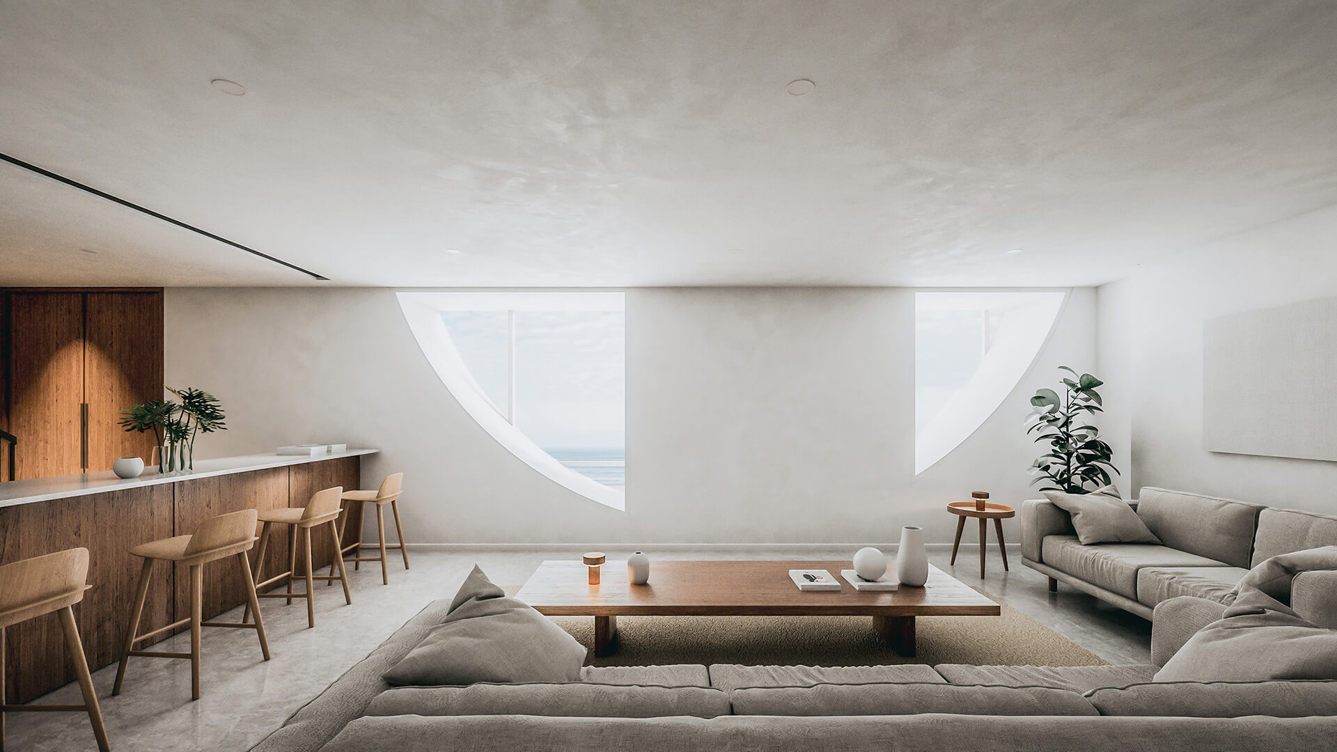 The insides display vast open spaces rendered in white | Dune House by Studio Vural | STIRworld
