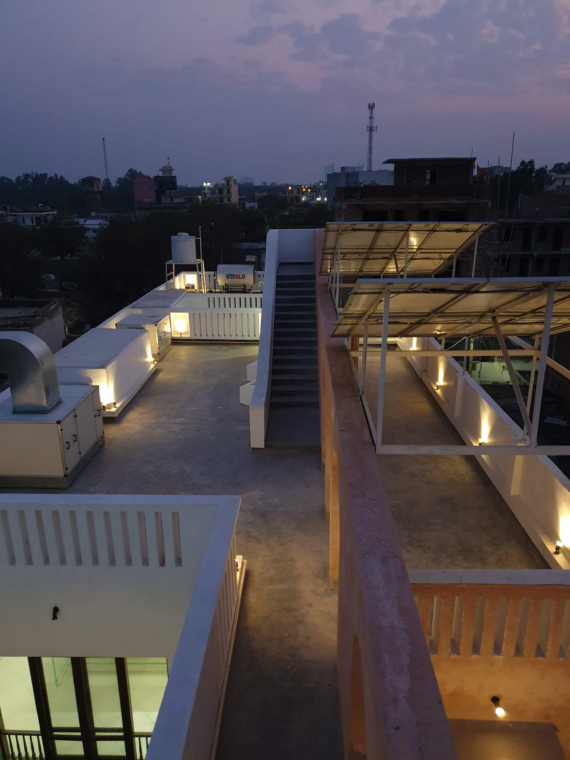The night view of the terrace | Butterflies Resilience Centre | Ashok B Lall Architects | STIRworld