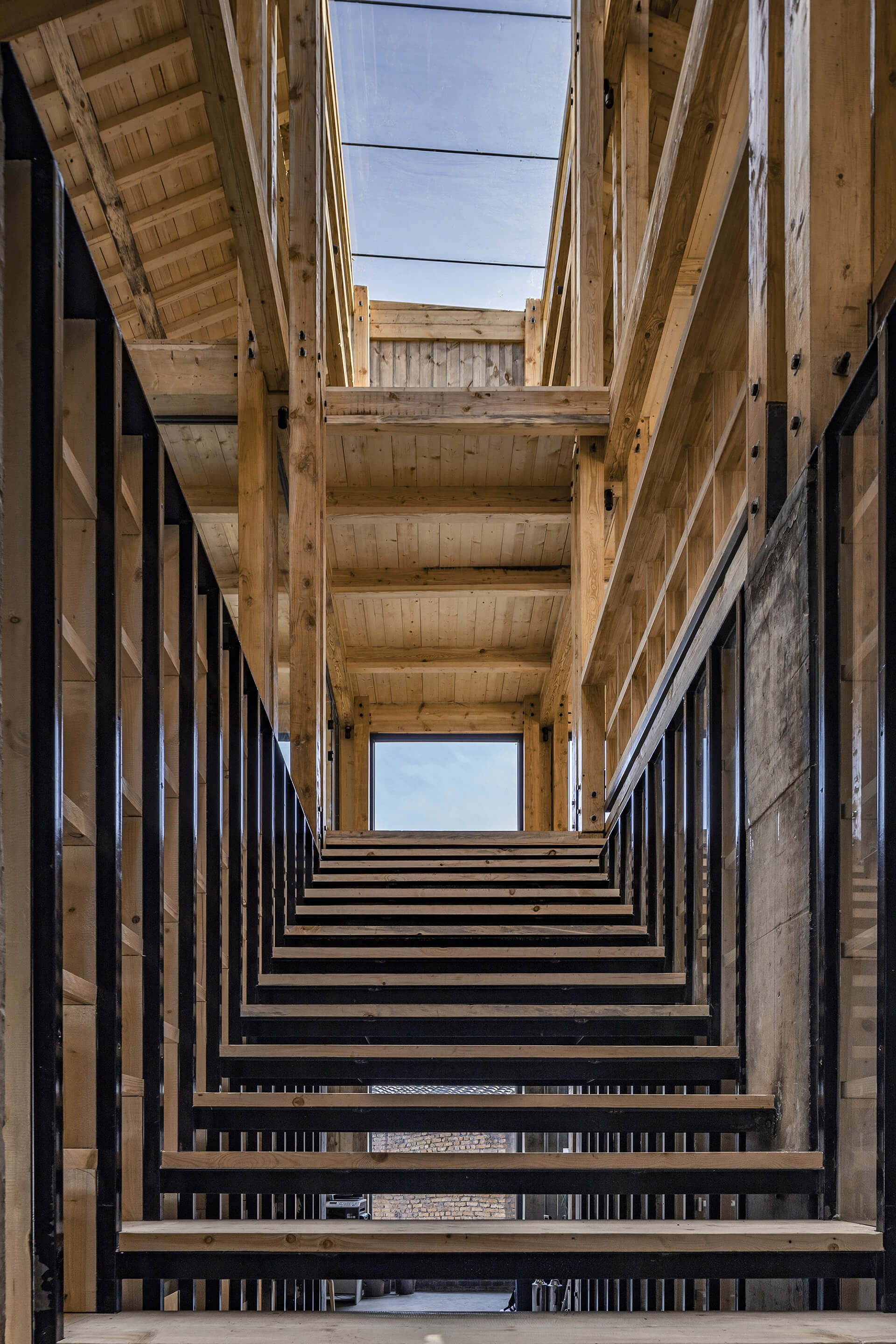 A staircase with 16 steps inside the community centre | Party and Public Service Center of Yuanheguan Village by LUO Studio | STIRworld