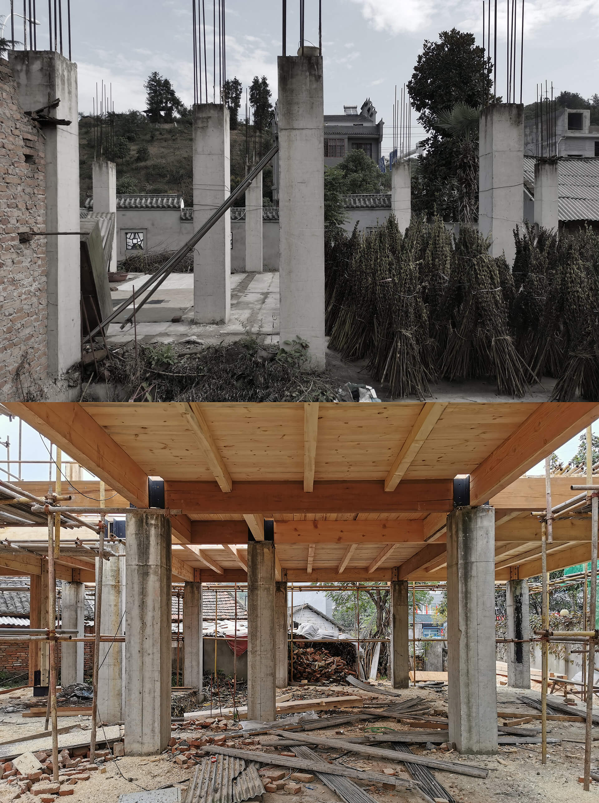 Before renovation (top) and construction process (bottom)| Party and Public Service Center of Yuanheguan Village by LUO Studio | STIRworld