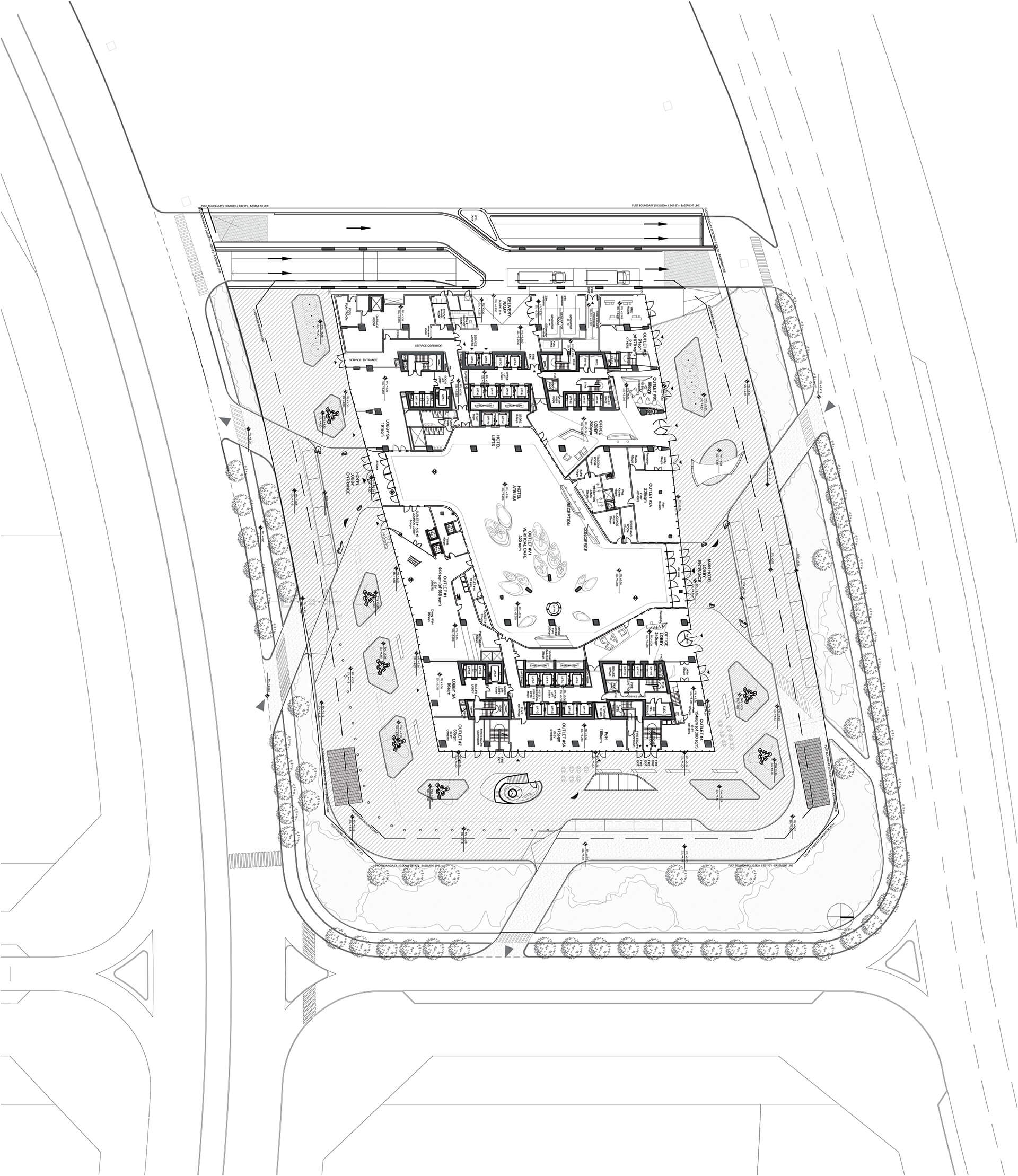 Plan of the lower ground floor showing the lobby of the ME Dubai | ME Dubai hotel at Opus | Zaha Hadid Architects | STIRworld