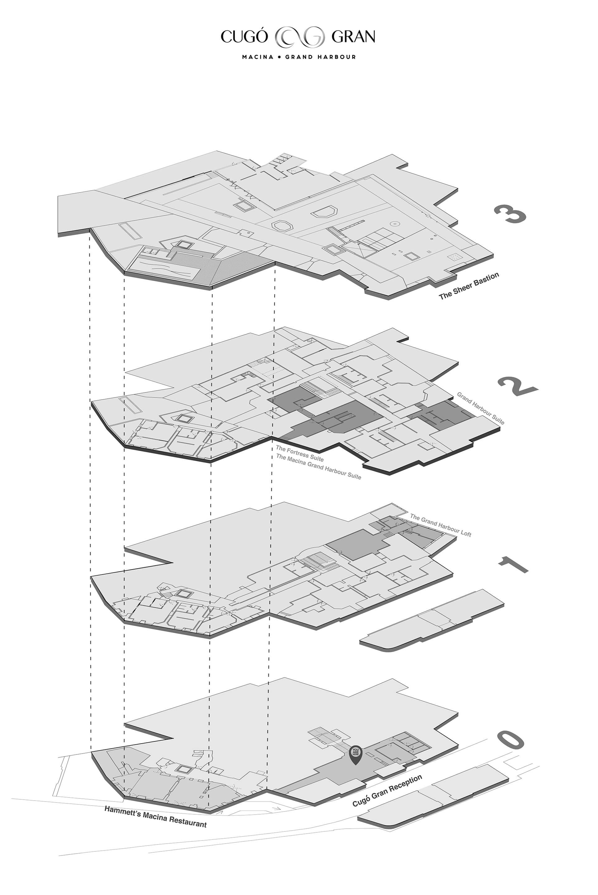 Exploded Axonometric View of Plans | DAAA Haus wins German Design Award 2020 for Cugó Gran Macina Grand Harbour | STIRworld