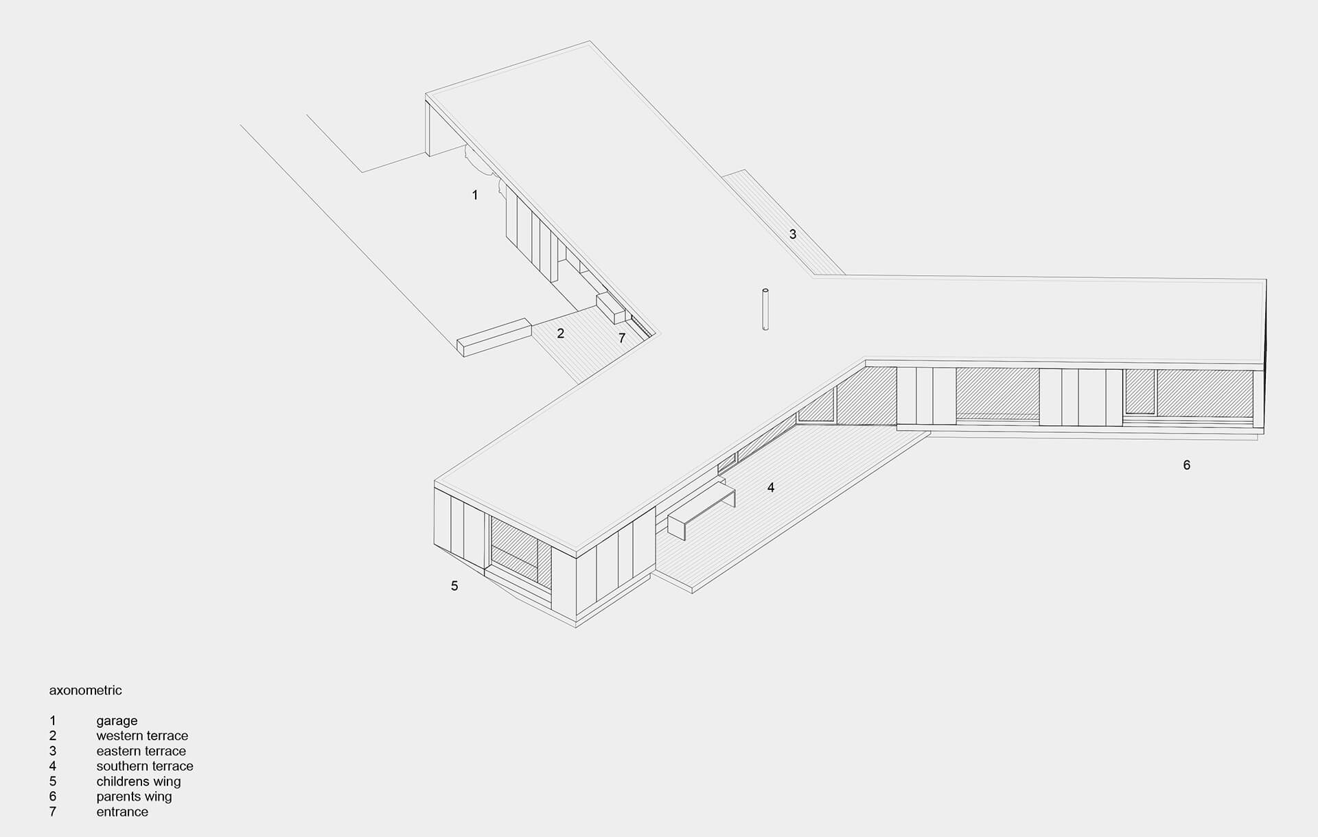 Axonometric diagram | Villa Korup designed by Jan Henrik Jansen Arkitekter with Marshall Blecher | STIRworld