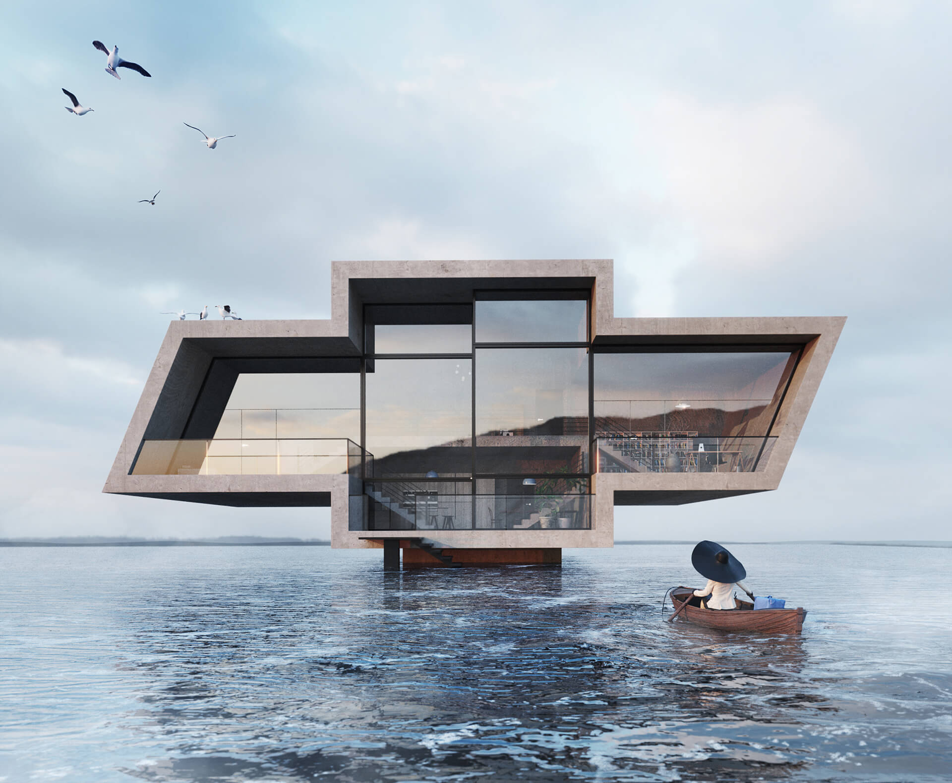Crosshouse is imagined over a body of water, and is inspired by Chevrolet's logo| Karina Wiciak of Wamhouse Studio conceptualises house designs inspired by brand logos | STIRworld