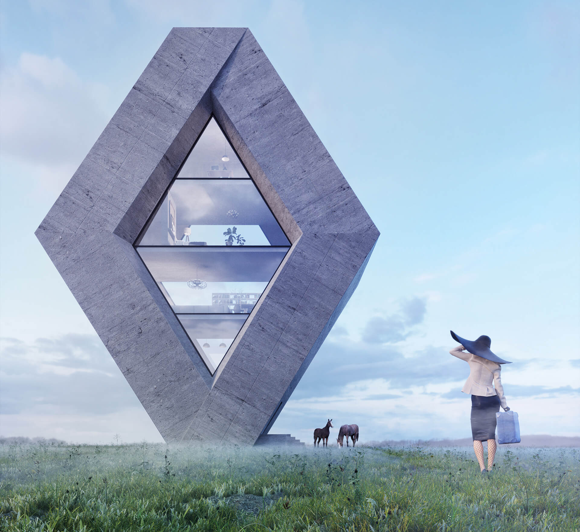 Rhombhouse is inspired by the diamond shaped Renault logo | Karina Wiciak of Wamhouse Studio conceptualises house designs inspired by brand logos | STIRworld