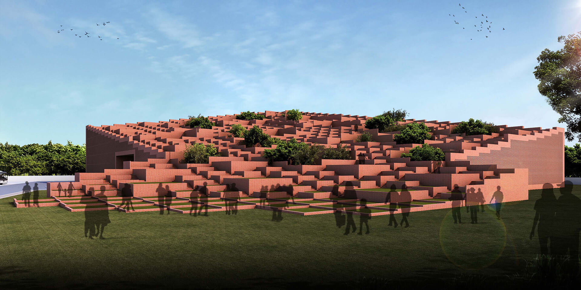 Stepped terraces at the Prestige University, Indore | Prestige University in Indore by Sanjay Puri Architects | STIRworld